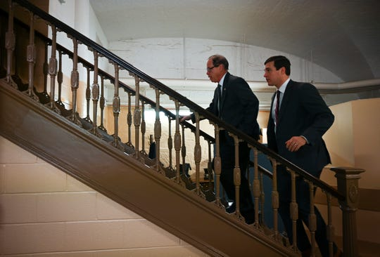Senator Mike Braun, R-Indiana, quickly walking up the stairs with Chief of Staff Josh Kelley from the basement of the Russell Senate Office Building heading to an Indiana Republican Delegation event at the Capitol Hill Club.