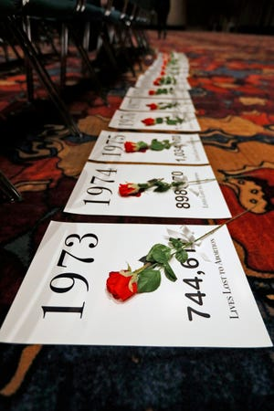 Posters indicating the number of lives lost to abortion since Roe v. Wade, each sit with a red rose, during the Right to Life of Indianapolis Memorial for the Unborn at the Indiana Convention Center on Jan. 22, 2019.