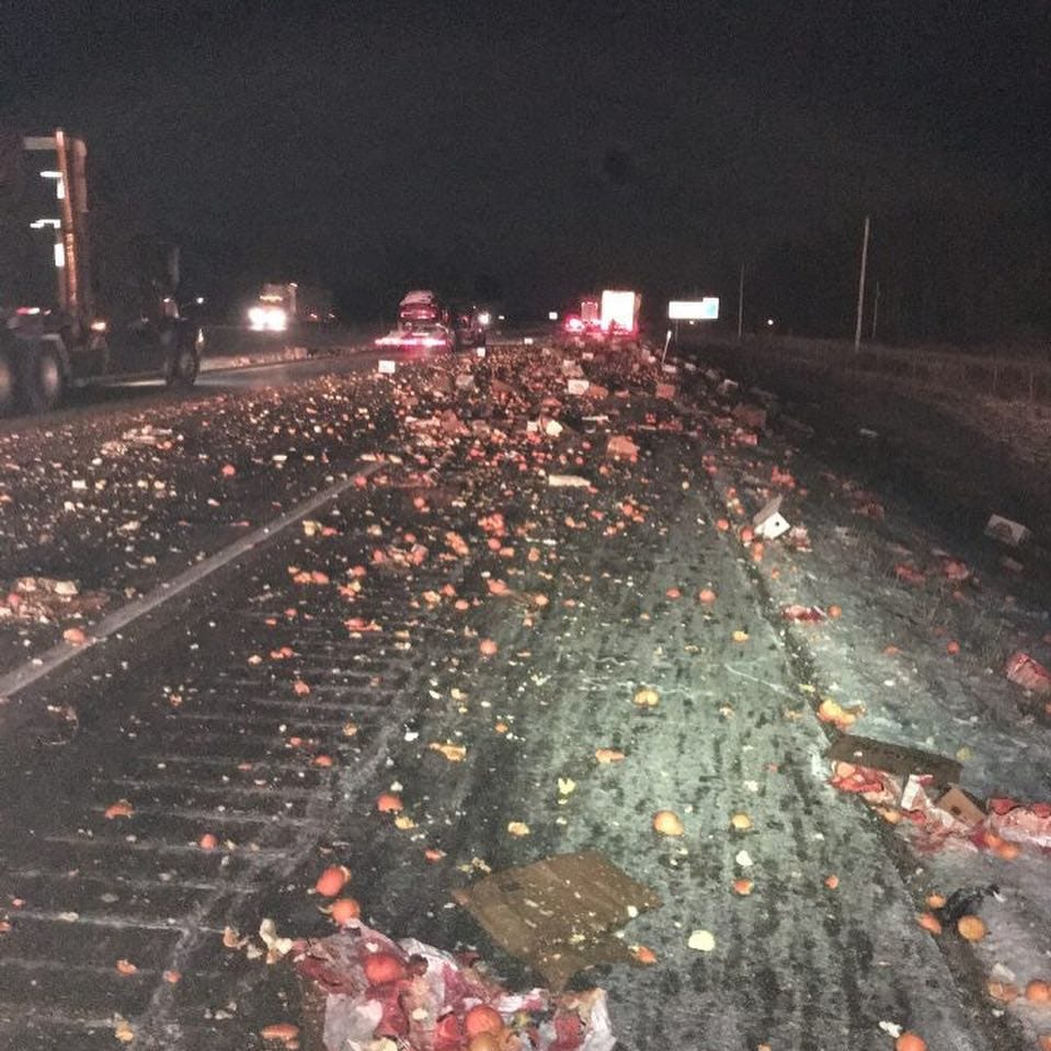 Oranges juiced on I-70 after crash in Knightstown