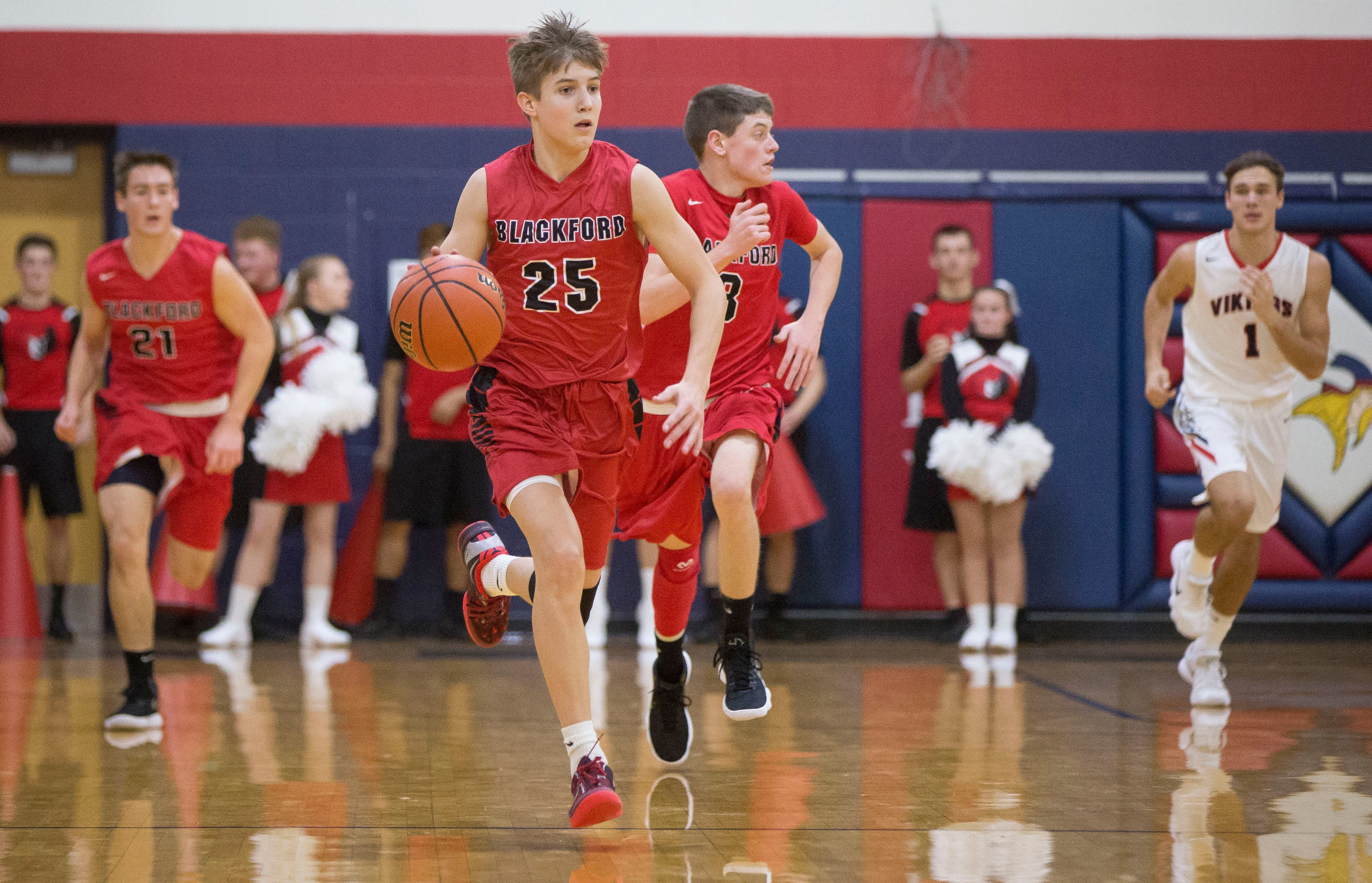 Blackford's Luke Brown takes the ball down court on Dec. 2 during their game against Blue River. Blackford won the game 79-64.