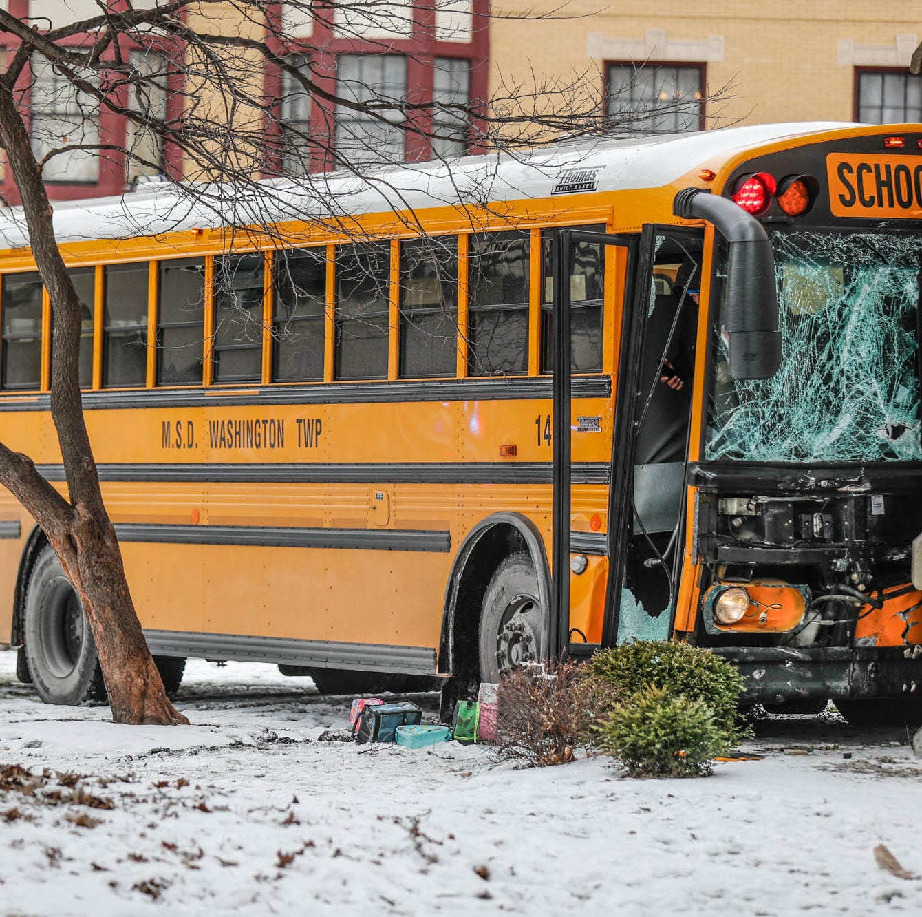 Washington Township school bus crashes into church after collision with tow truck