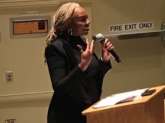 Opal Tometi, co-founder of Black Lives Matter, speaks on the campus of Notre Dame on Martin Luther King Jr. Day.