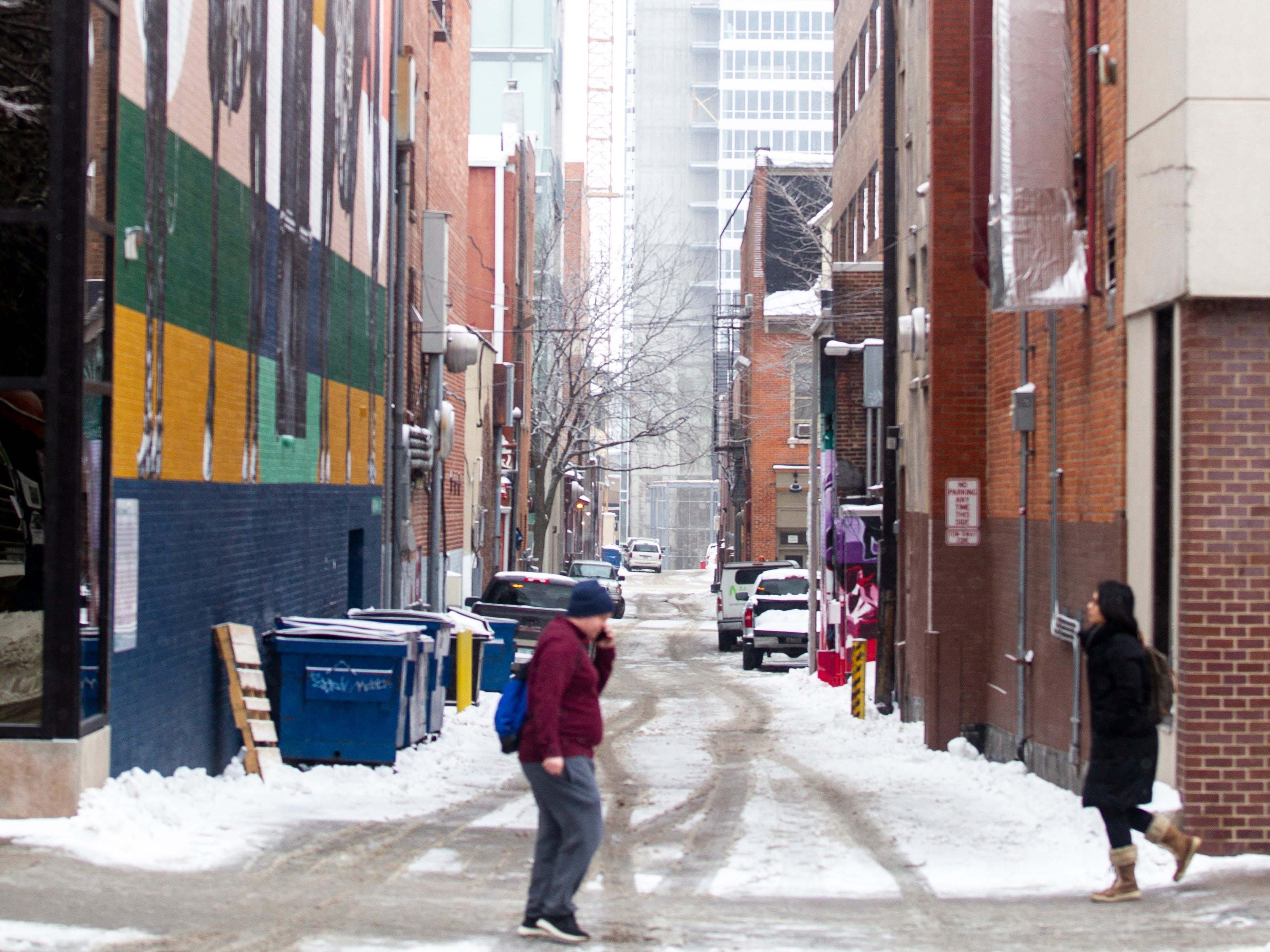 People walk along Clinton Street past a mural painted by Thomas Agran as light snow falls on Tuesday, Jan. 22, 2019, in Iowa City, Iowa.