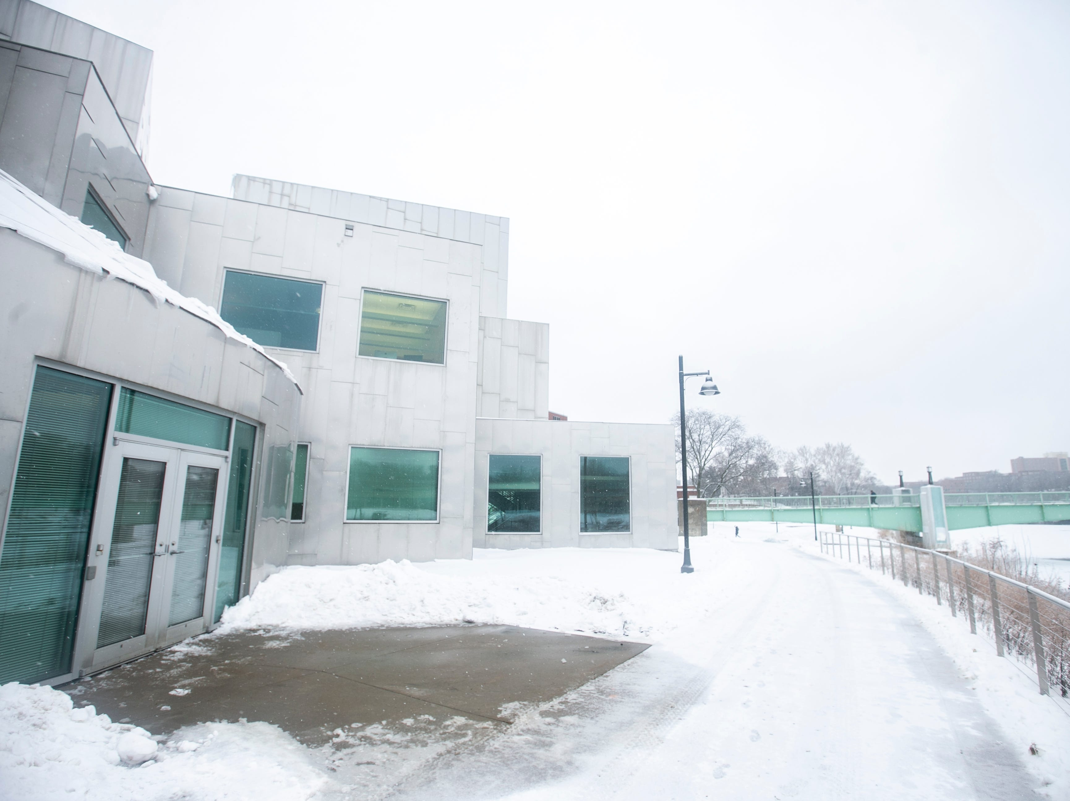 Iowa Advanced Technology Laboratories is seen as light snow falls on Tuesday, Jan. 22, 2019, in Iowa City, Iowa. Architect Frank Gehry designed the building.