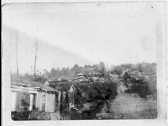 This photo shows the destruction a tornado caused in Hazlehurst in 1969.