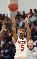 Forest Hill's Keondre Montgomery (5) shoots against Starkville on Monday, January 21, 2019, at the Rumble in the South high school basketball tournament at St. Andrew's Episcopal School in Ridgeland, Miss.