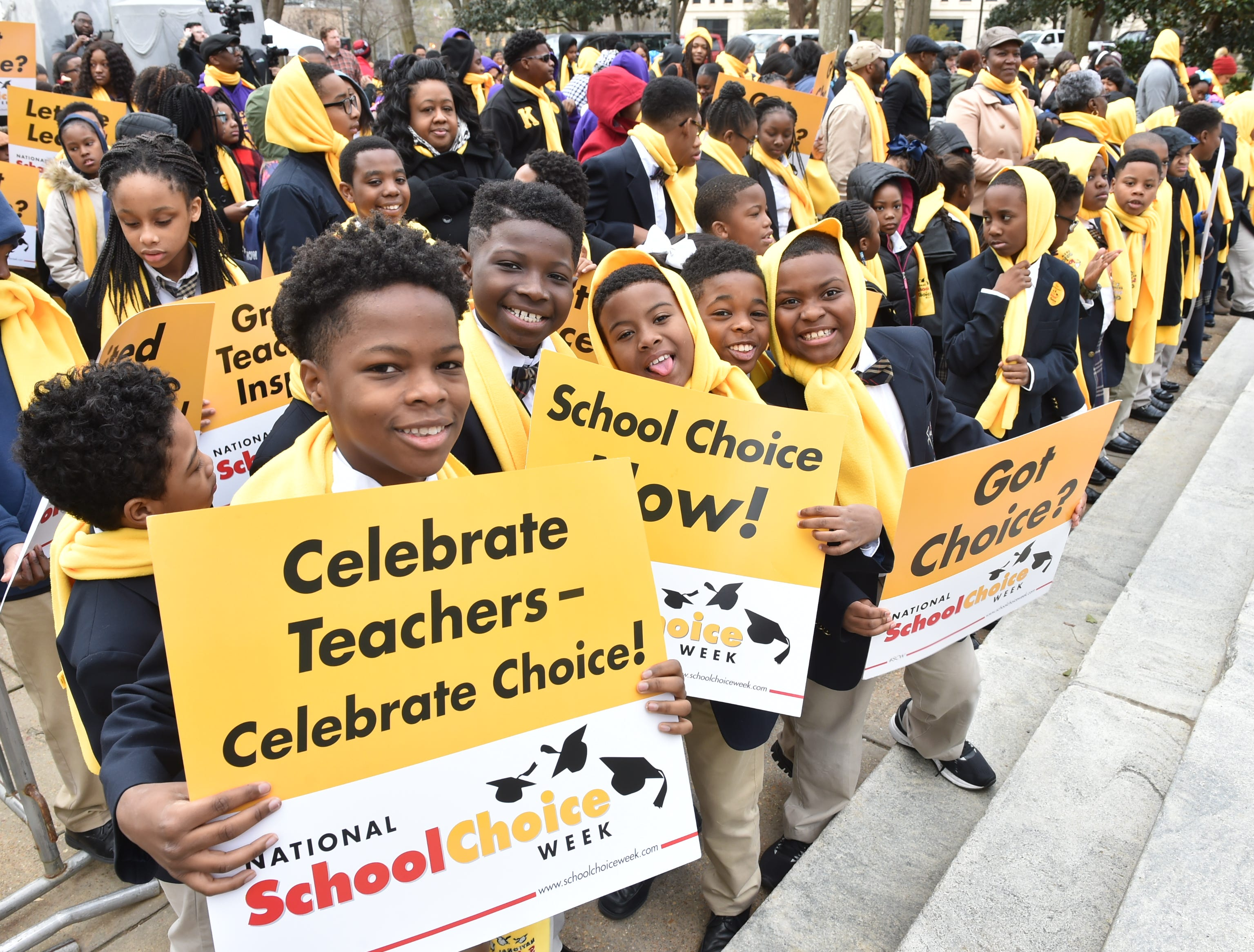 National School Choice Week rally on the steps of the capitol building in Jackson, MS. Students from across the state attended the rally and met with legislators regarding school choice in Mississippi. Tuesday, Jan. 22, 2019.