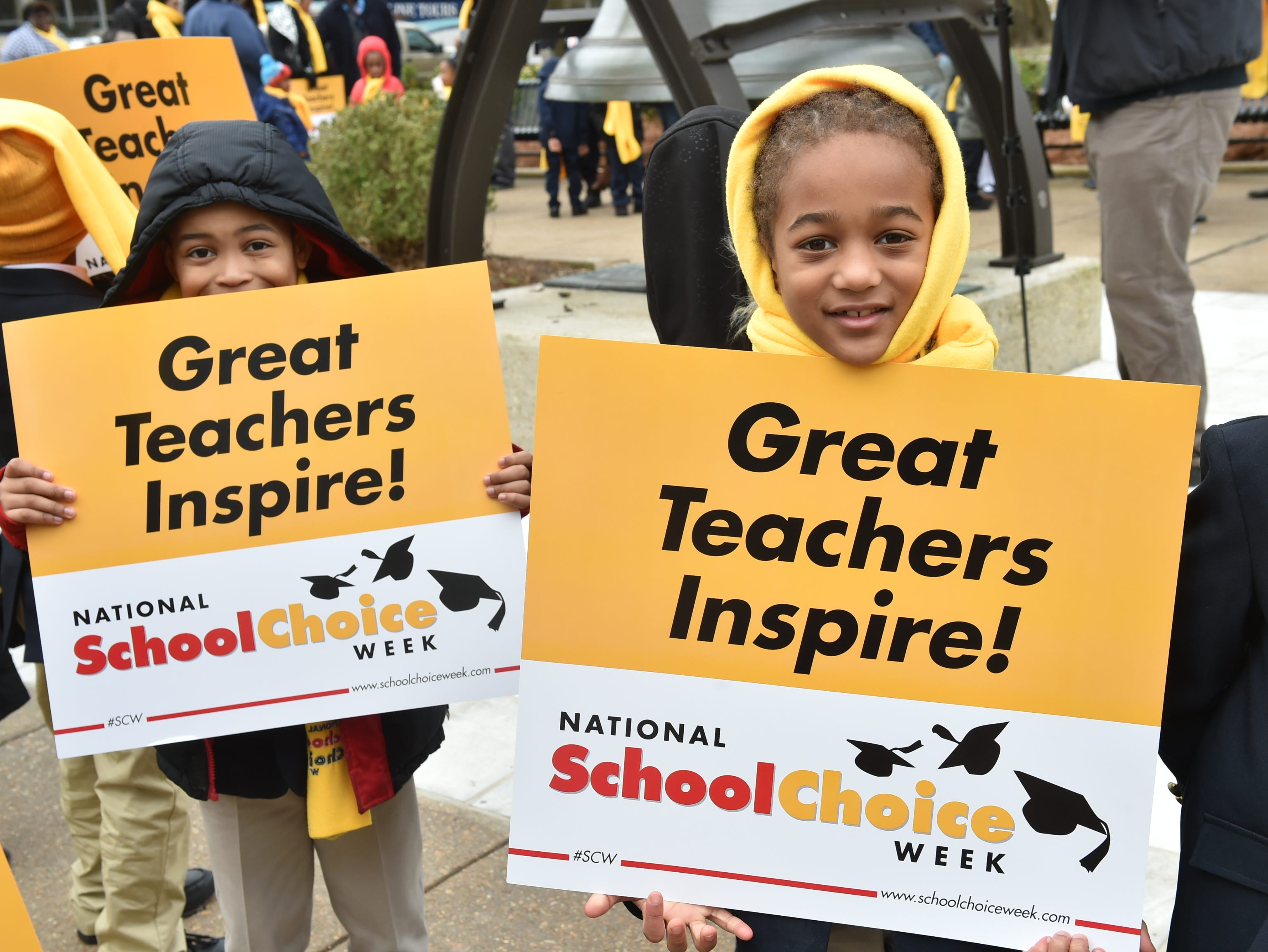 A National School Choice Week rally was held on the steps of the capitol building in Jackson, MS today. Students from across the state attended the rally and met with legislators regarding school choice in Mississippi. Tuesday, Jan. 22, 2019.
