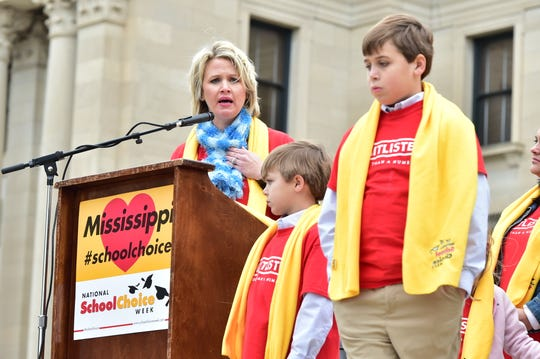 Mother and educator Leah Ferretti speaks about parents' rights at a National School Choice Week rally held on the steps of the capitol building in Jackson, MS. Tuesday, Jan. 22, 2019.