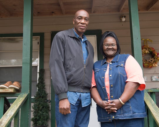 """'The Boy with the Pop Bottle on his Head' filmmaker Steve Collins, left, poses with Shirley Watkins Little, right, outside Little's home in Hazlehurst. Little's mother invited the boy to stay at their house one night. Little, now 58 years old, remembers the boy as a """"little fellow"""" with """"pretty, curly hair."""" Monday, Jan.14, 2019."""
