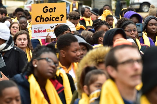 National School Choice Week rally on the steps of the capitol building in Jackson, MS. Tuesday, Jan. 22, 2019.