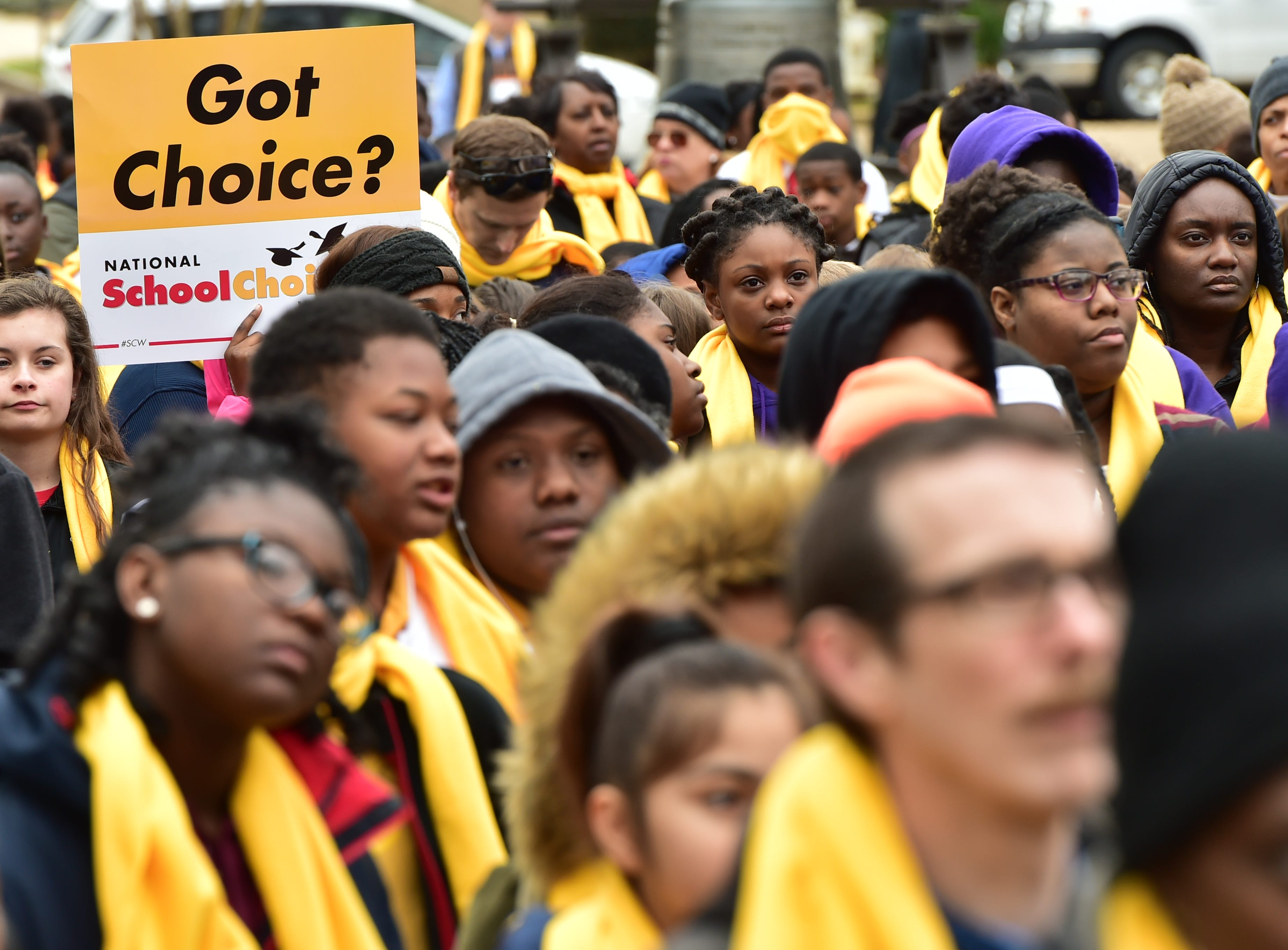 A National School Choice Week rally was held on the steps of the capitol building in Jackson, MS today. Students, parents and educators from across the state attended the rally and met with legislators regarding school choice in Mississippi. Tuesday, Jan. 22, 2019.