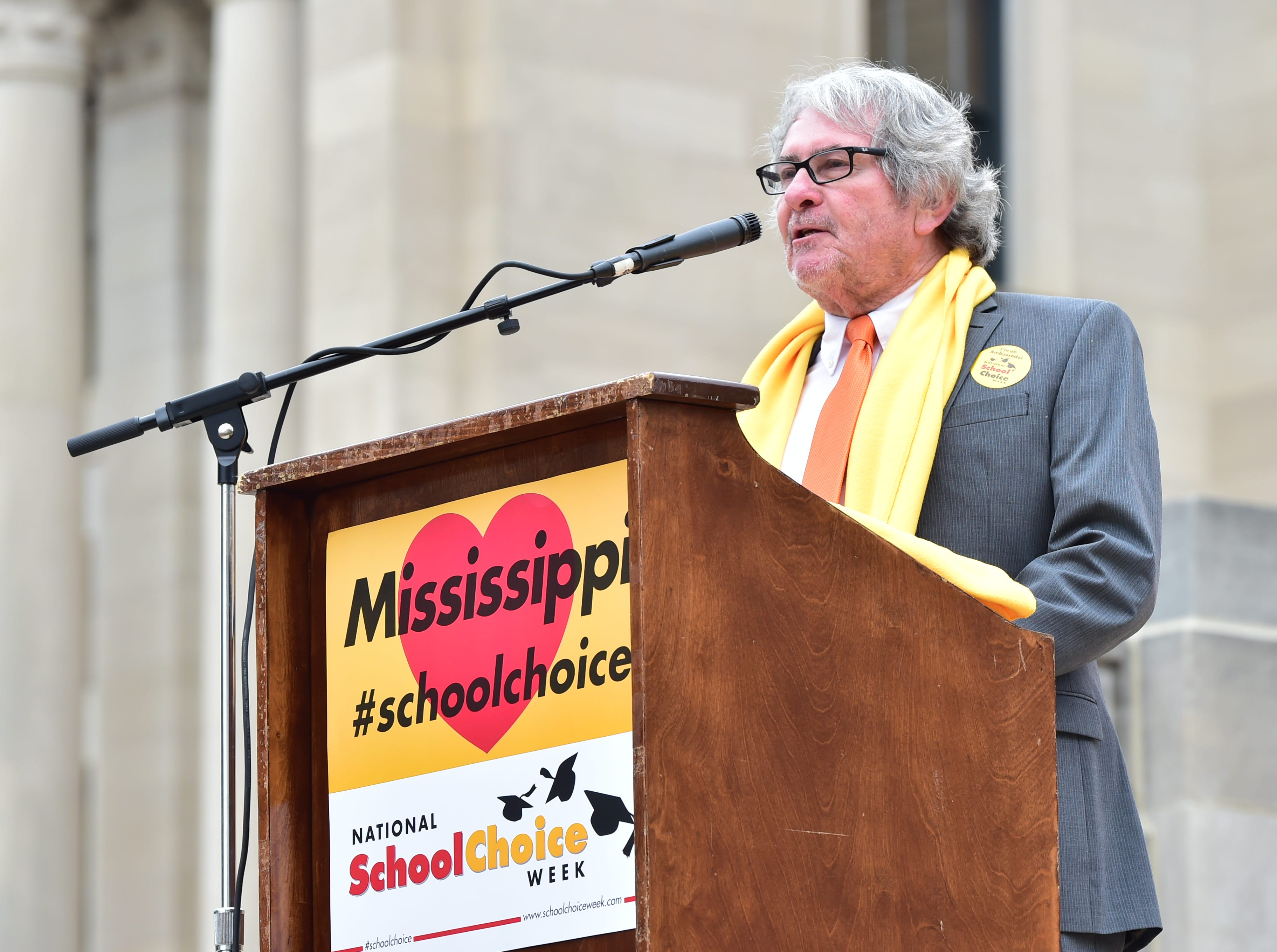 Dr. William Sutton, principal of New Summit High School, speaks to attendees of a National School Choice Week rally held on the steps of the capitol building in Jackson, MS. Students from across the state attended the rally and met with legislators regarding school choice in Mississippi. Tuesday, Jan. 22, 2019.