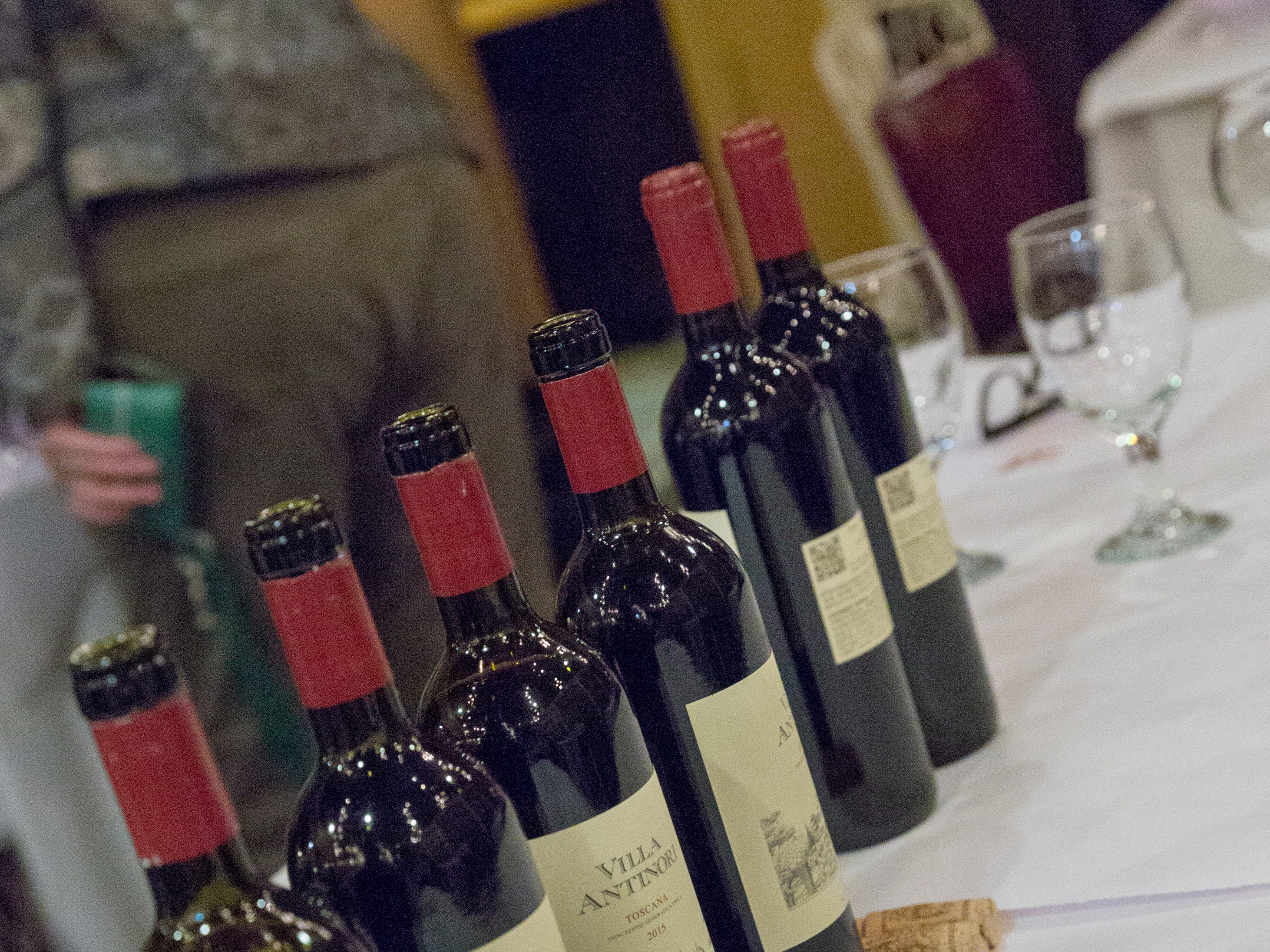 A variety of wines sit on a table awaiting the last Wine Tasting Dinner at Baudo's Thursday night, January 17, 2019.