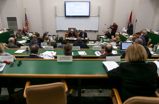 Commissioners hold discourse at a Madison County Commission meeting at West Tennessee AgResearch and Education Center in Jackson, Tenn., on Tuesday, Jan. 22, 2019.