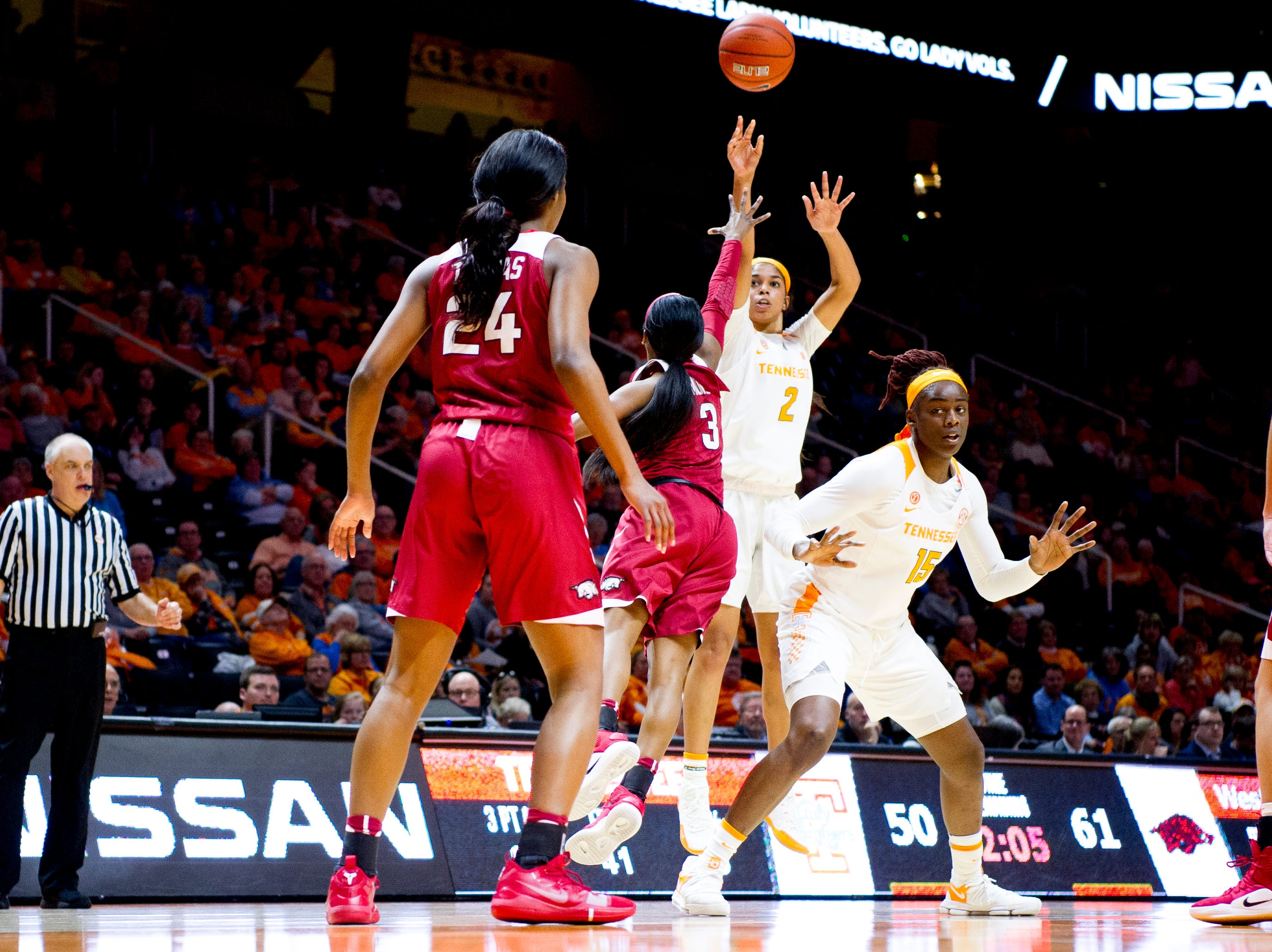 Tennessee guard Evina Westbrook (2) shoots the ball during a game between Tennessee and Arkansas at Thompson-Boling Arena in Knoxville, Tennessee on Monday, January 21, 2019.