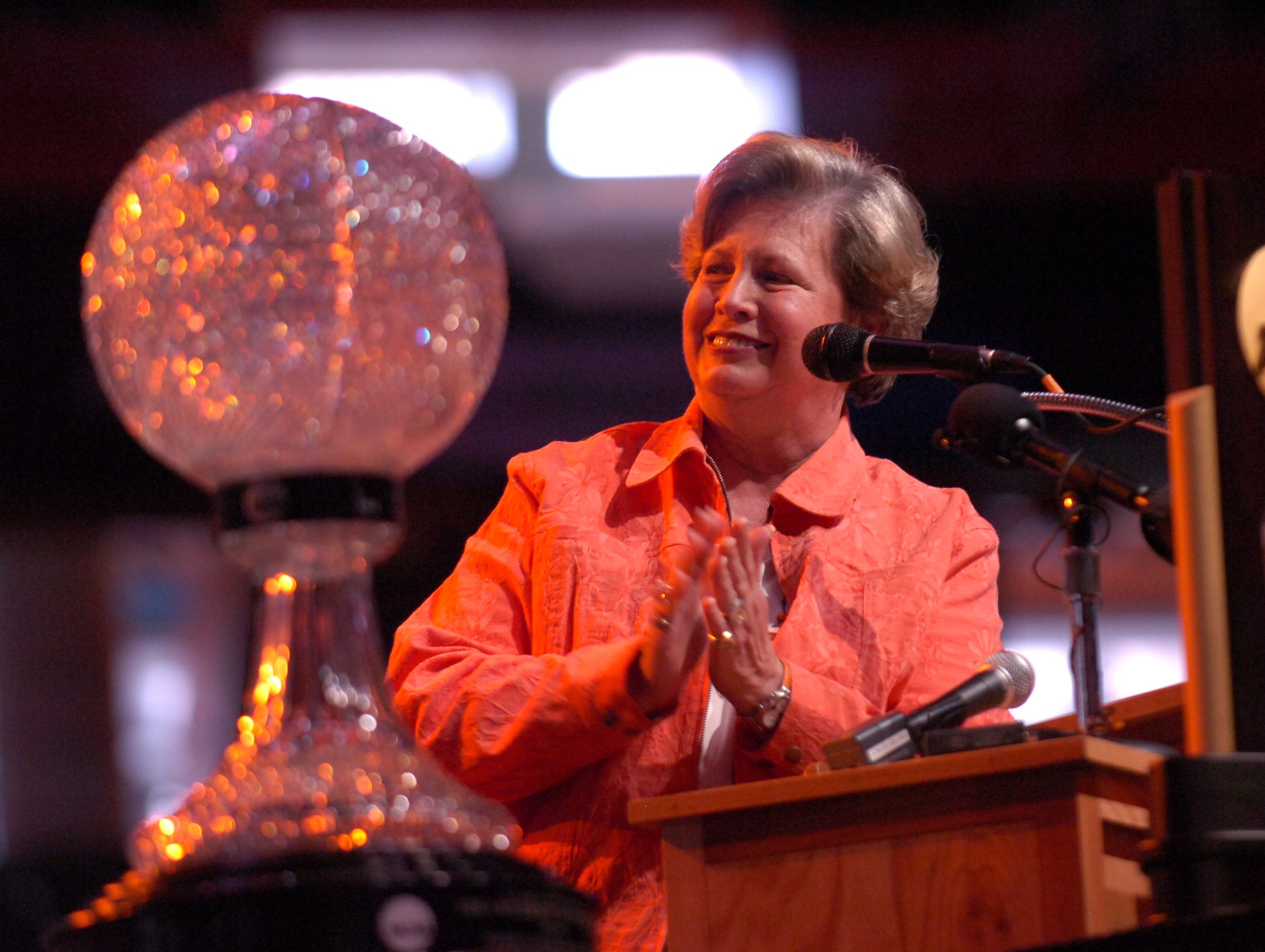 Women's athletics director Joan Cronan congratulates the team during a celebration for the 2008 NCAA National Champion Tennessee Lady Vols basketball team at Thompson Boling Arena on Wednesday evening. Tennessee defeated Stanford to claim their eighth national title.