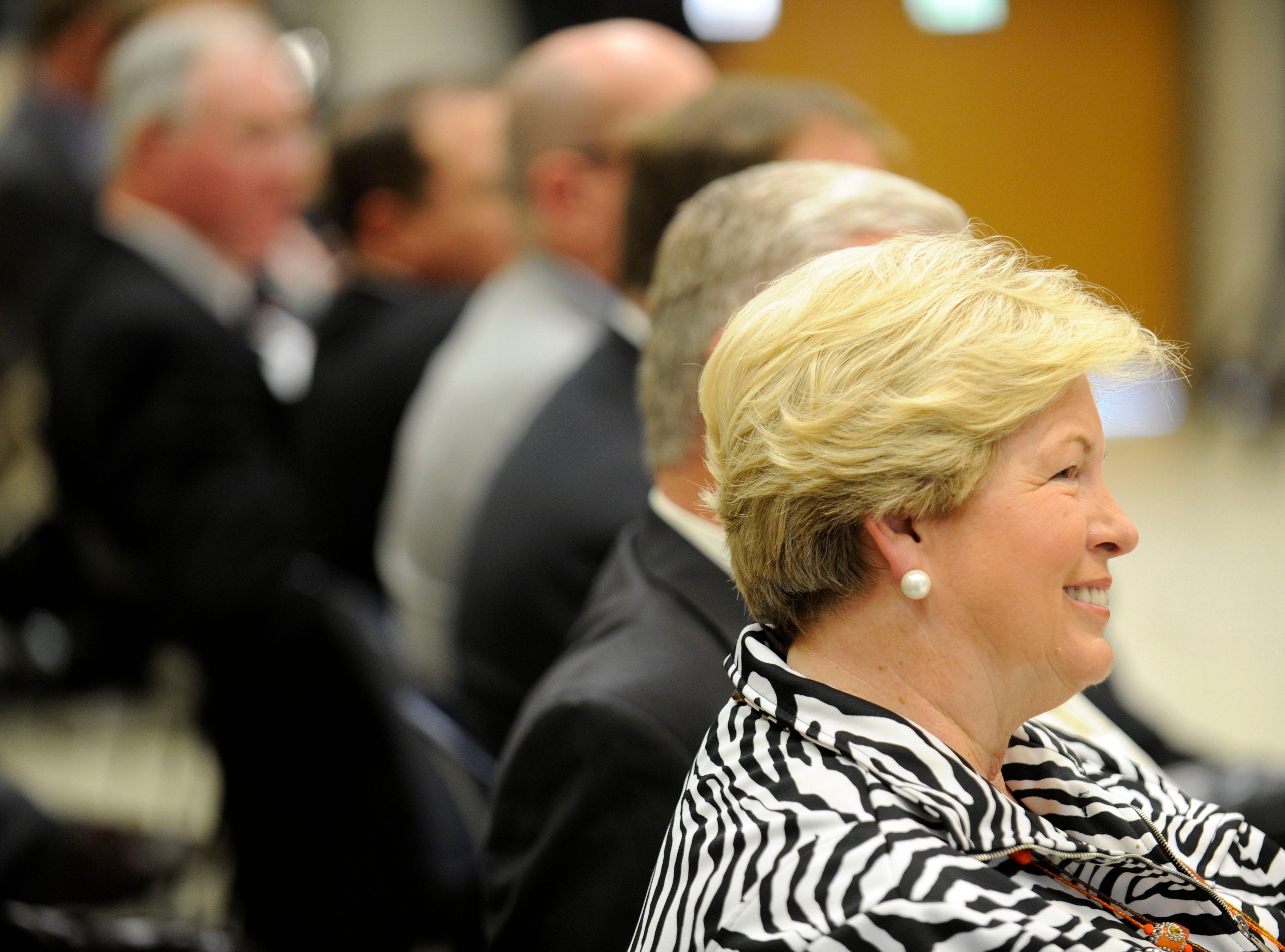Joan Cronan is recognized as emeritus vice chancellor and director of athletics, and women's athletics director, during the annual University of Tennessee board of trustees meeting on Thursday, June 21, 2012. Members  voted on the annual budget and an 8 percent tuition increase in Knoxville to cover fixed costs, salary increases and academic initiatives.