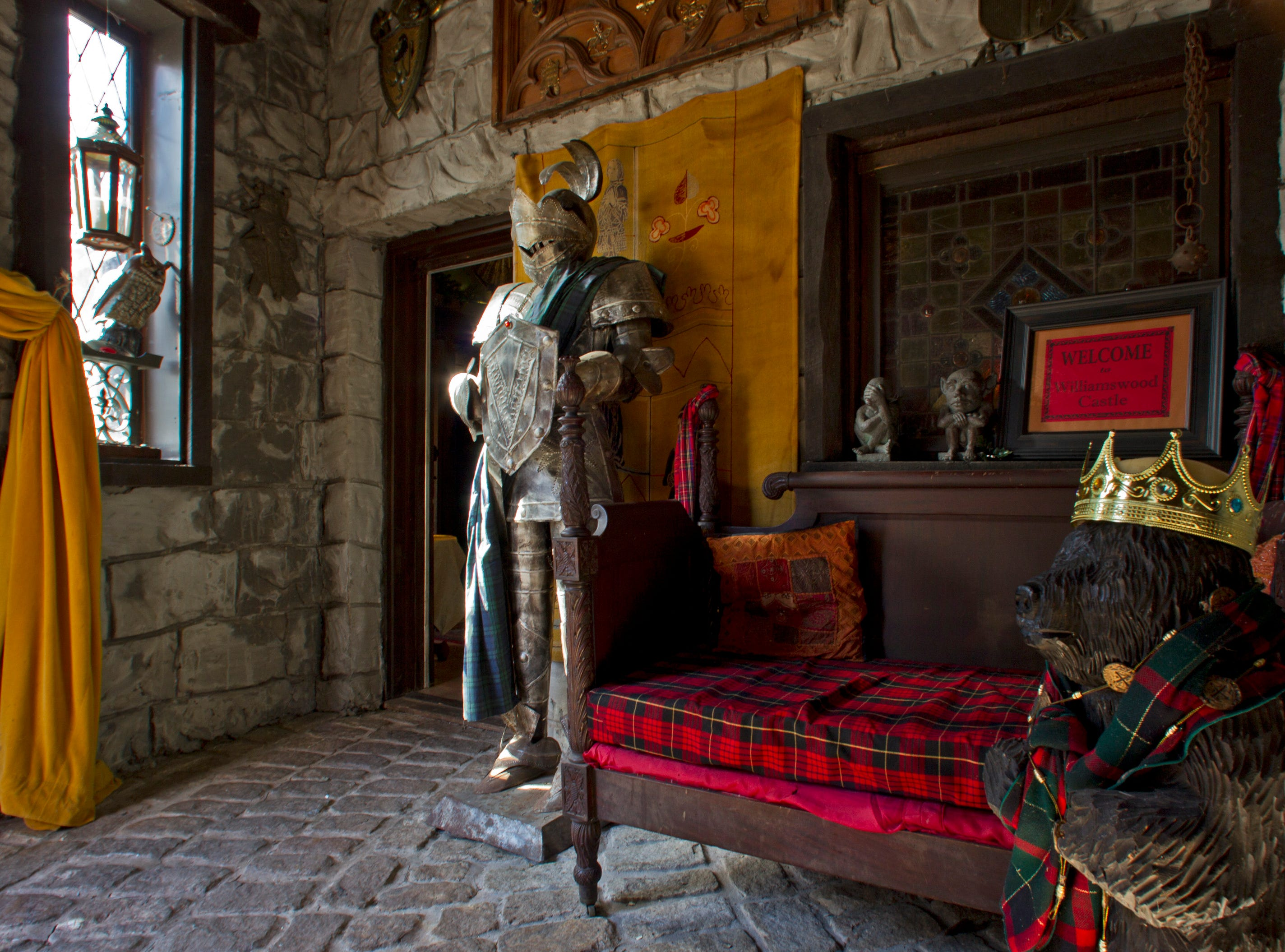The entrance hall at Williamswood Castle which boasts battlements and turrets, a secret passageway, and an impressive looking dungeon. Located near Ijams Nature Center in South Knoxville, it is now available for rental.