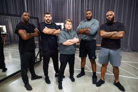 """From left Malik Jackson, Justin Pugh, James Corden, Brandon Parker and A'Shawn Robinson pose during the NFL Big Man Dance Crew sketch on """"The Late Late Show with James Corden."""""""
