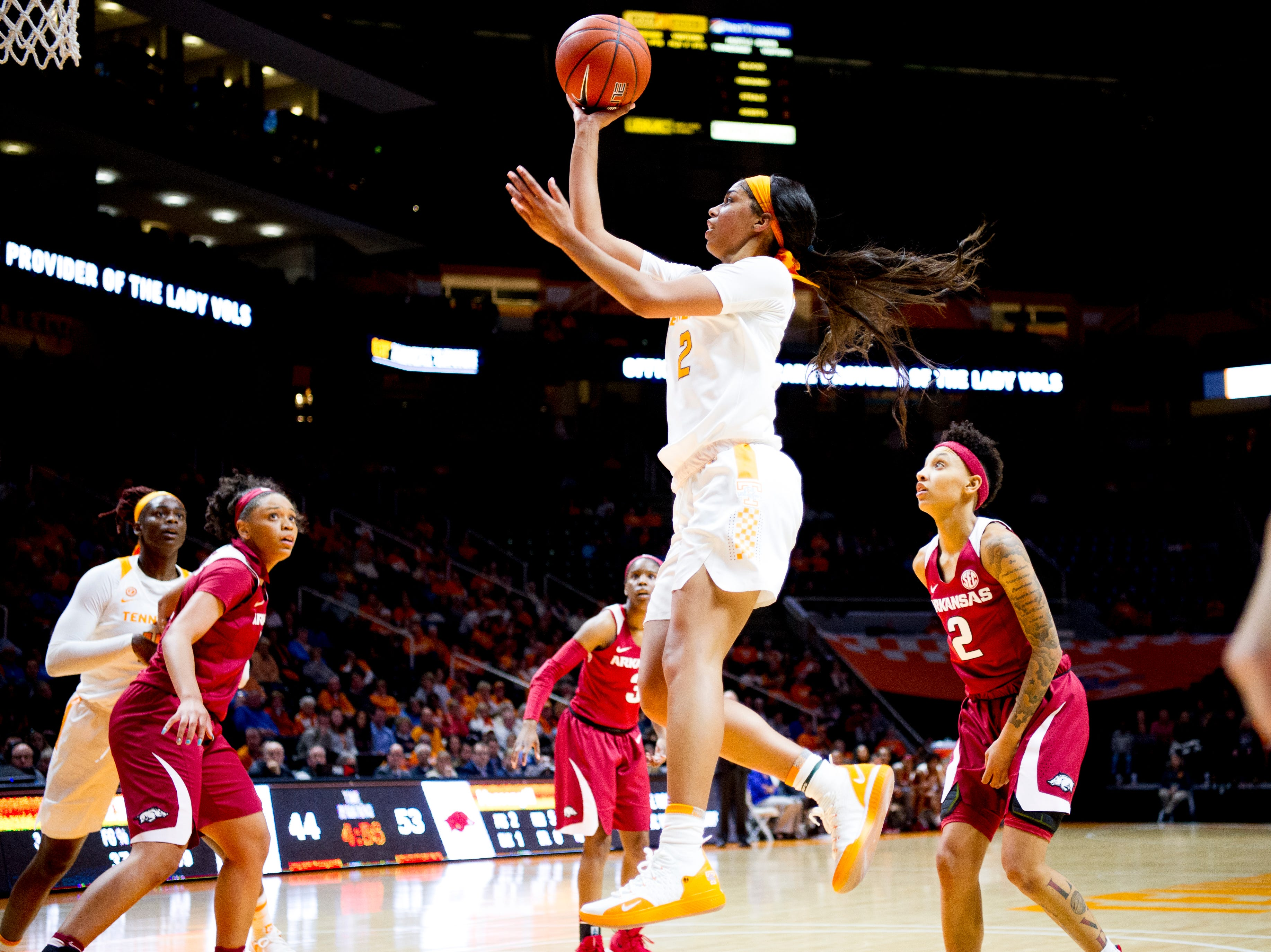 Tennessee guard Evina Westbrook (2) goes for a layup during a game between Tennessee and Arkansas at Thompson-Boling Arena in Knoxville, Tennessee on Monday, January 21, 2019.