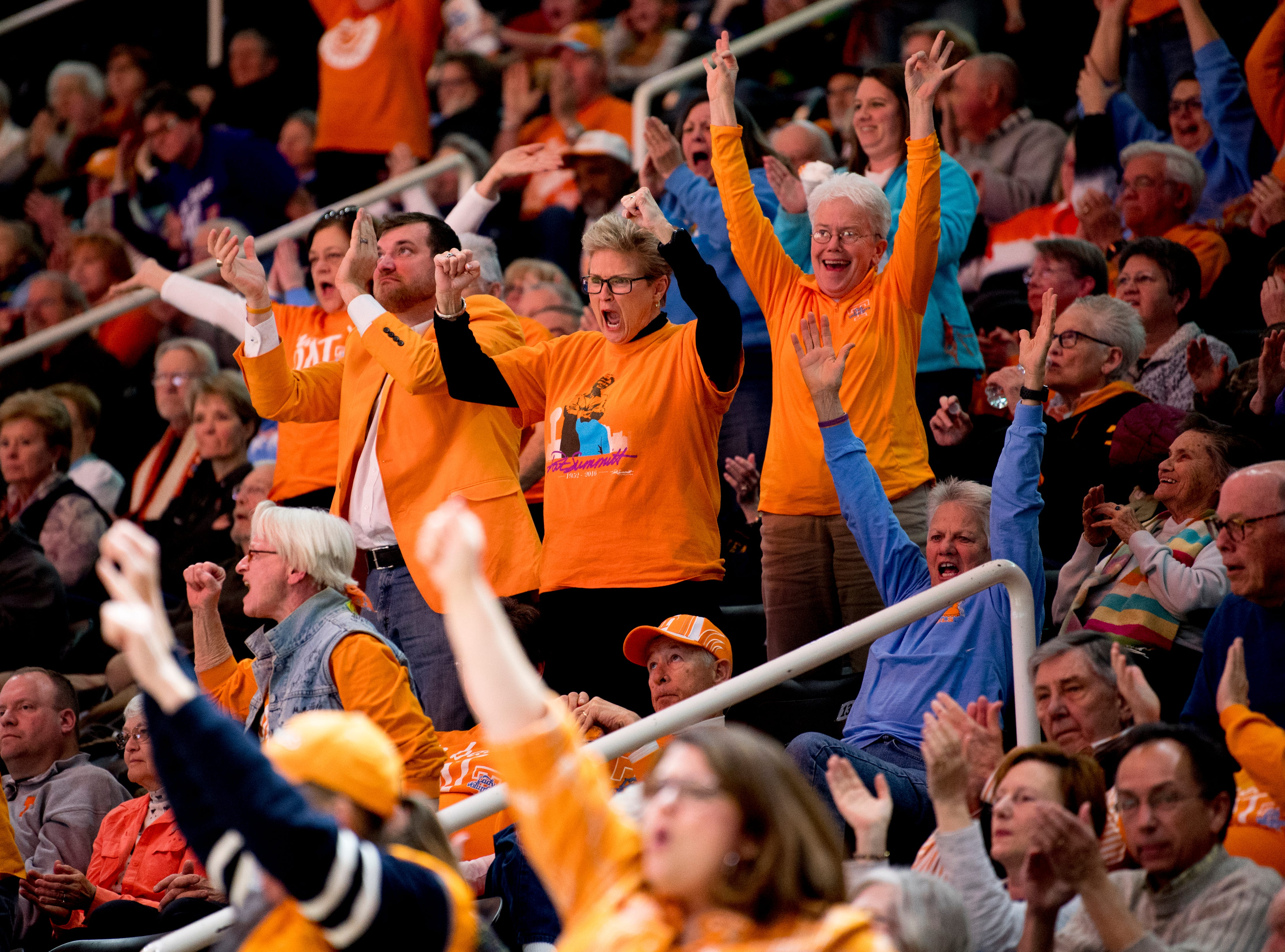 Lady Vol fans cheer as the team ties with Arkansas during a game at Thompson-Boling Arena in Knoxville, Tennessee on Monday, January 21, 2019.