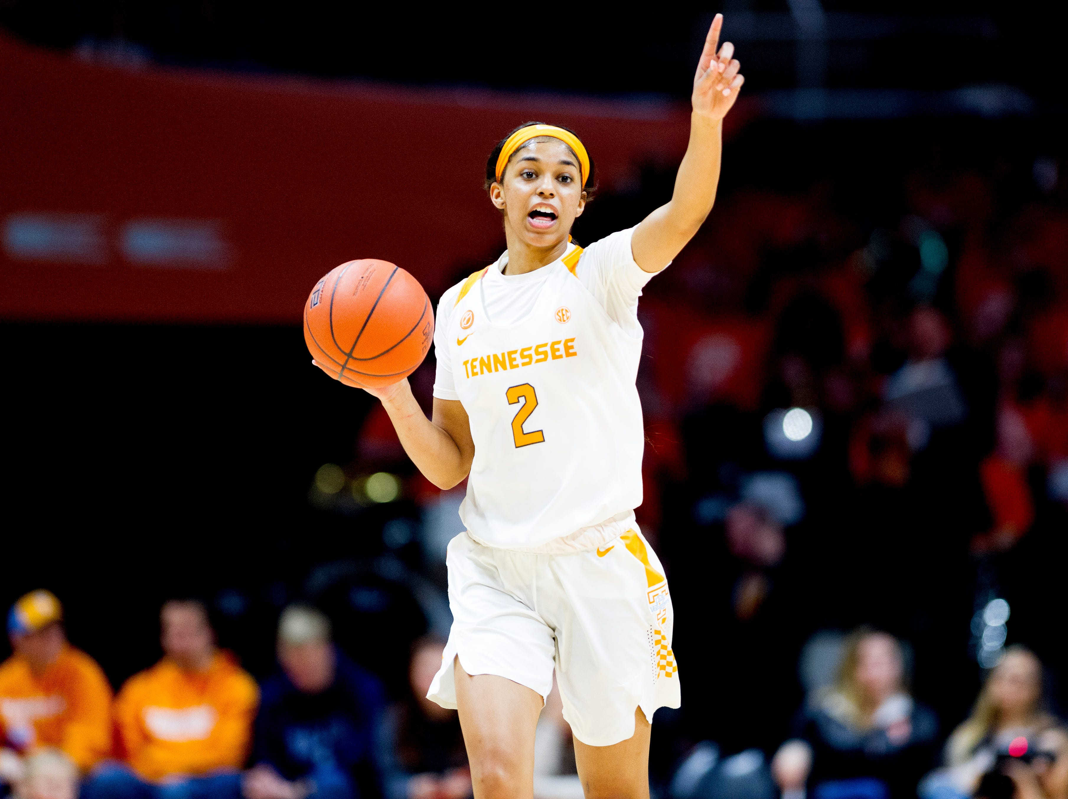 Tennessee guard Evina Westbrook (2) gestures to teammates down the court during a game between Tennessee and Arkansas at Thompson-Boling Arena in Knoxville, Tennessee on Monday, January 21, 2019.