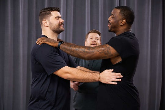 """Justin Pugh and Malik Jackson join James Corden for the NFL Big Man Dance Crew sketch during """"The Late Late Show with James Corden."""""""