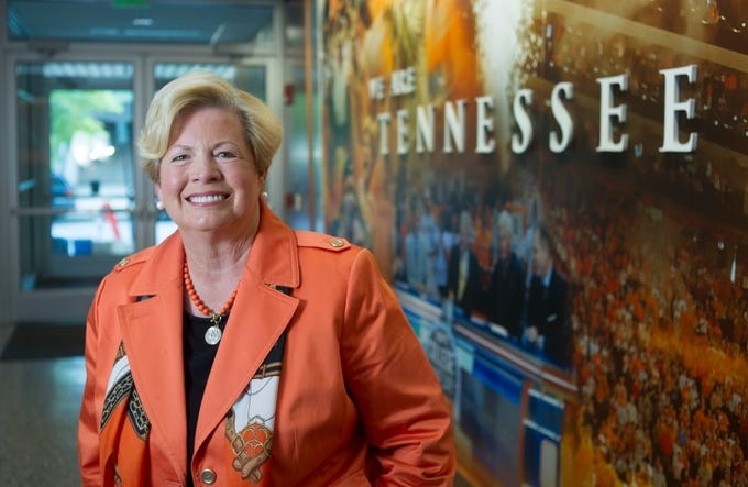 Senior Advisor to the Chancellor Joan Cronan strikes a pose June 27, 2014, at Thompson-Boling Arena. UT's longtime women's athletic director is retiring at the end of the month.