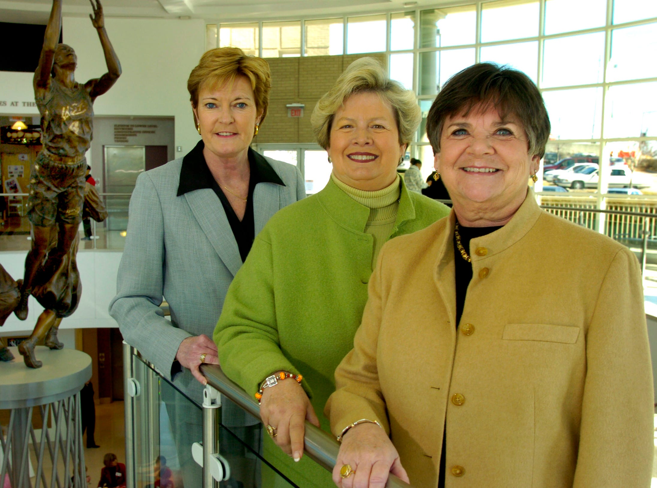 In a Feb. 14, 2006 photograph, Pat Summitt, Lady Vols basketball coach, left, Joan Cronan, UT athletic department, and Gloria Ray, CEO of the Tourism and Sports Corp. are seen at the Women's Basketball Hall of Fame.