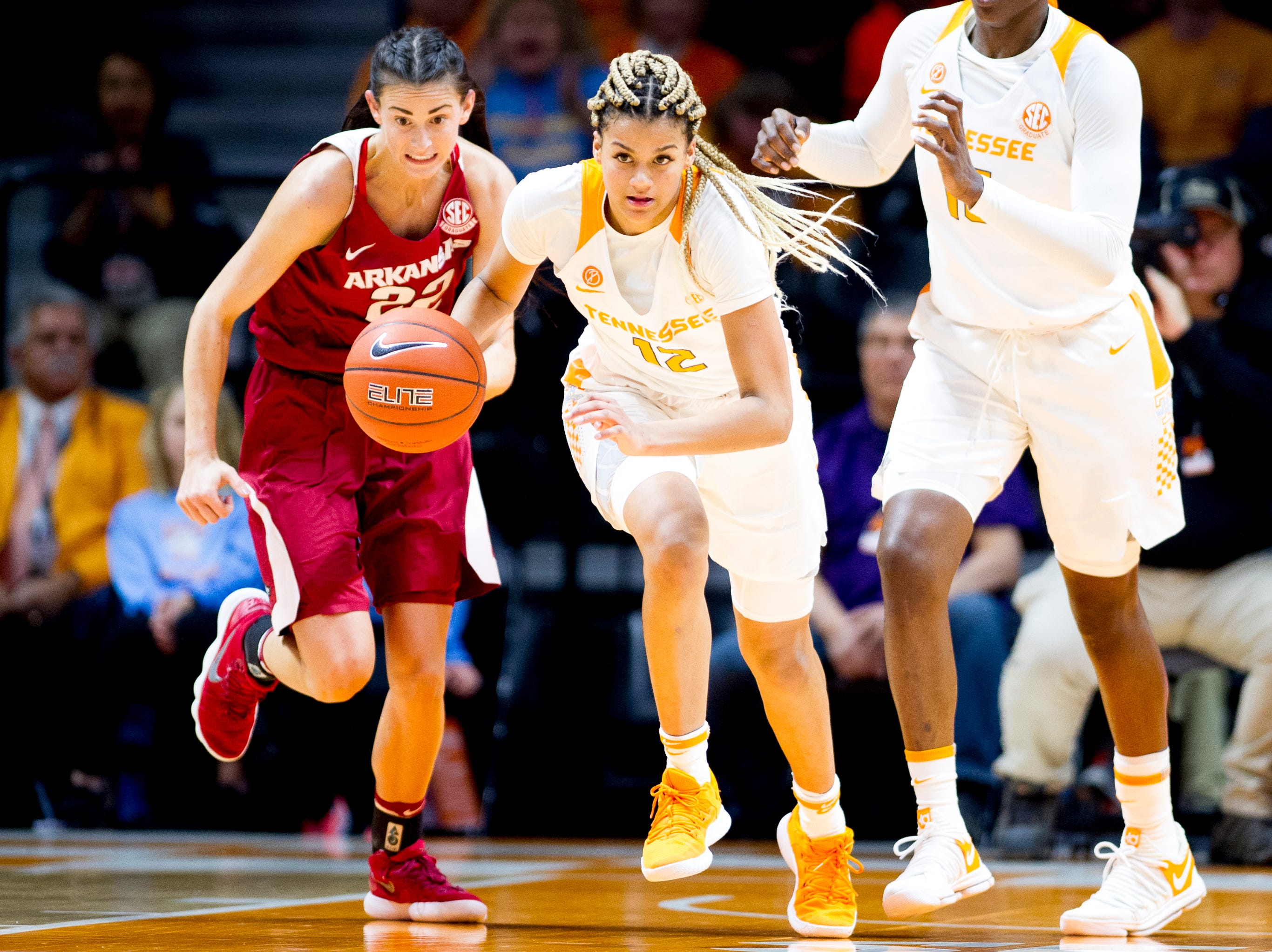 Tennessee guard/forward Rae Burrell (12) dribbles the ball down the court during a game between Tennessee and Arkansas at Thompson-Boling Arena in Knoxville, Tennessee on Monday, January 21, 2019.
