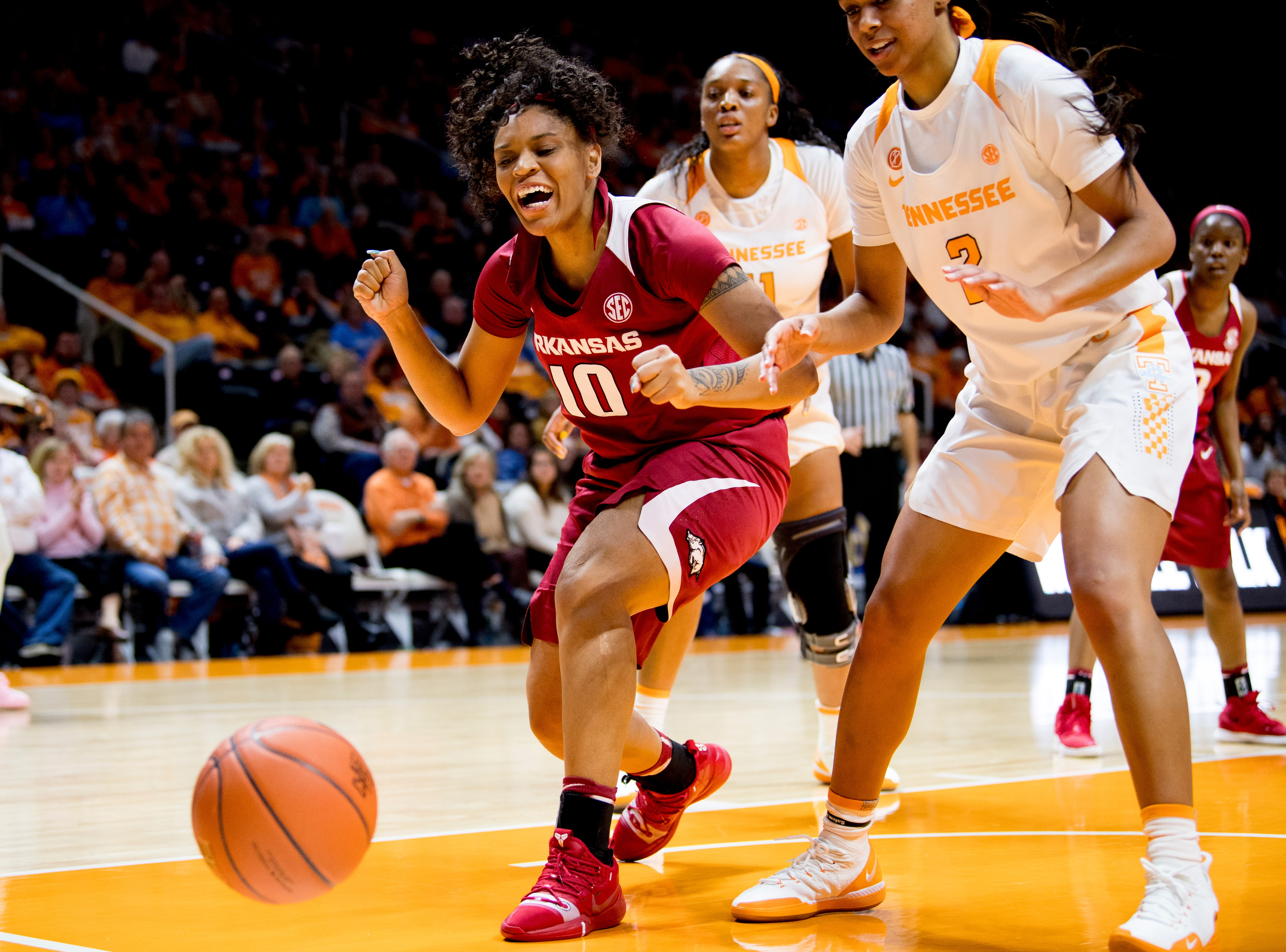 Arkansas forward/center Kiara Williams (10) reacts after losing the ball during a game between Tennessee and Arkansas at Thompson-Boling Arena in , Tennessee on Monday, January 21, 2019.