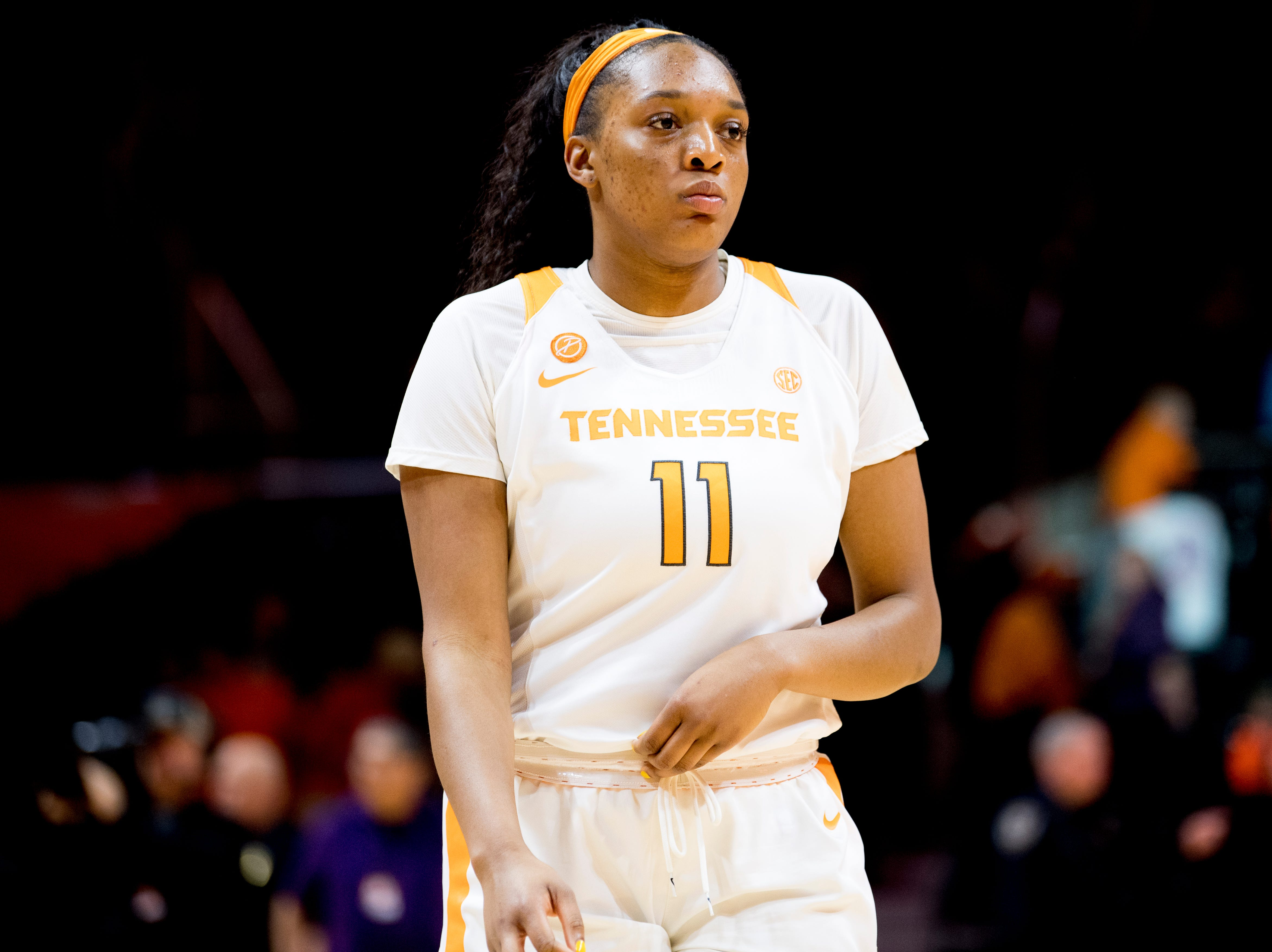 Tennessee center Kasiyahna Kushkituah (11) walks off the court after falling to Arkansas 79-80 at Thompson-Boling Arena in Knoxville, Tennessee on Monday, January 21, 2019.