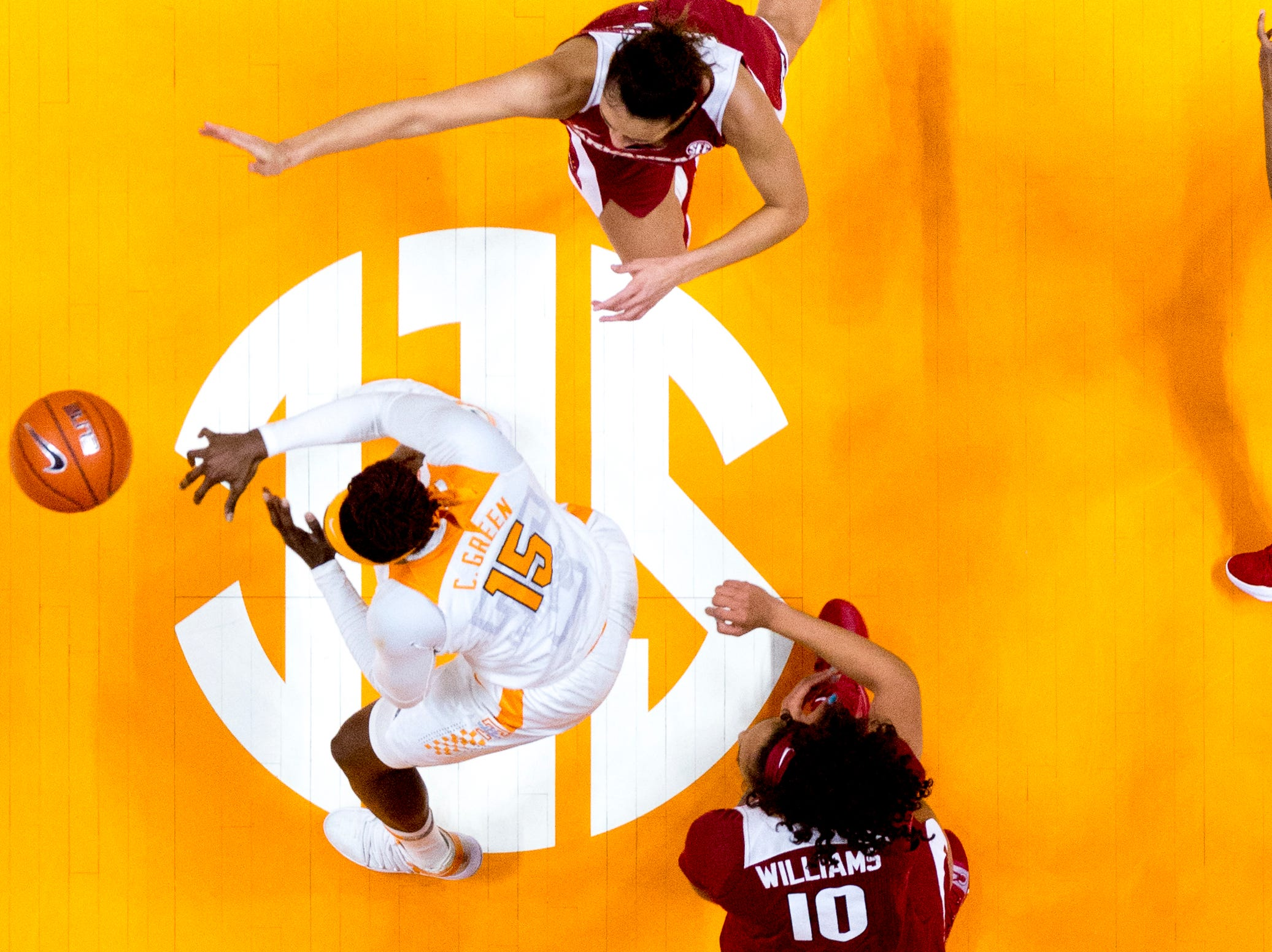 Tennessee forward Cheridene Green (15) goes for the ball during a game between Tennessee and Arkansas at Thompson-Boling Arena in Knoxville, Tennessee on Monday, January 21, 2019.
