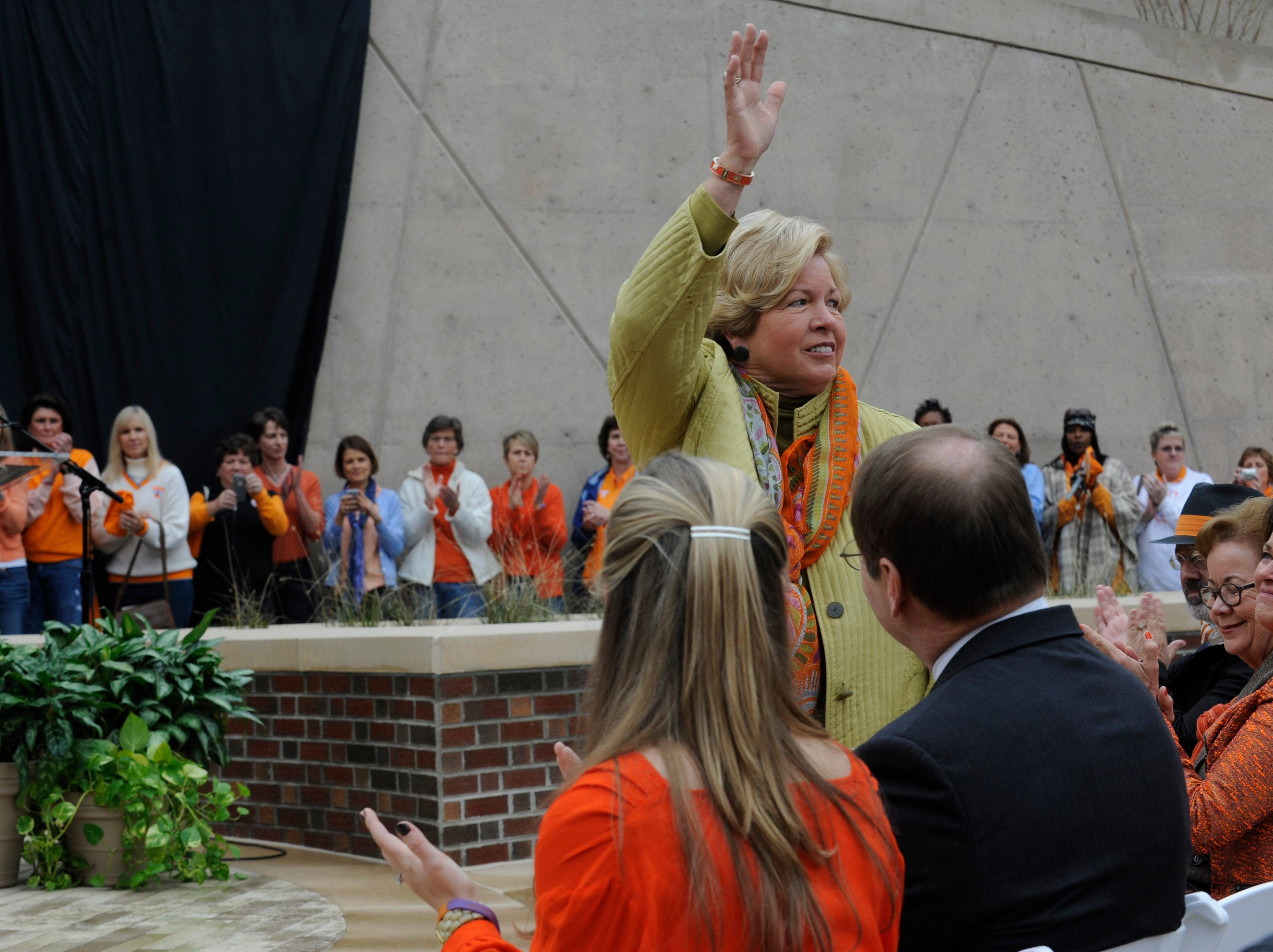 Former Women's Athletic Director Joan Cronan is recognized during a ceremony at the University of Tennessee honoring legendary coach Pat Summitt Friday, Nov 22, 2013.