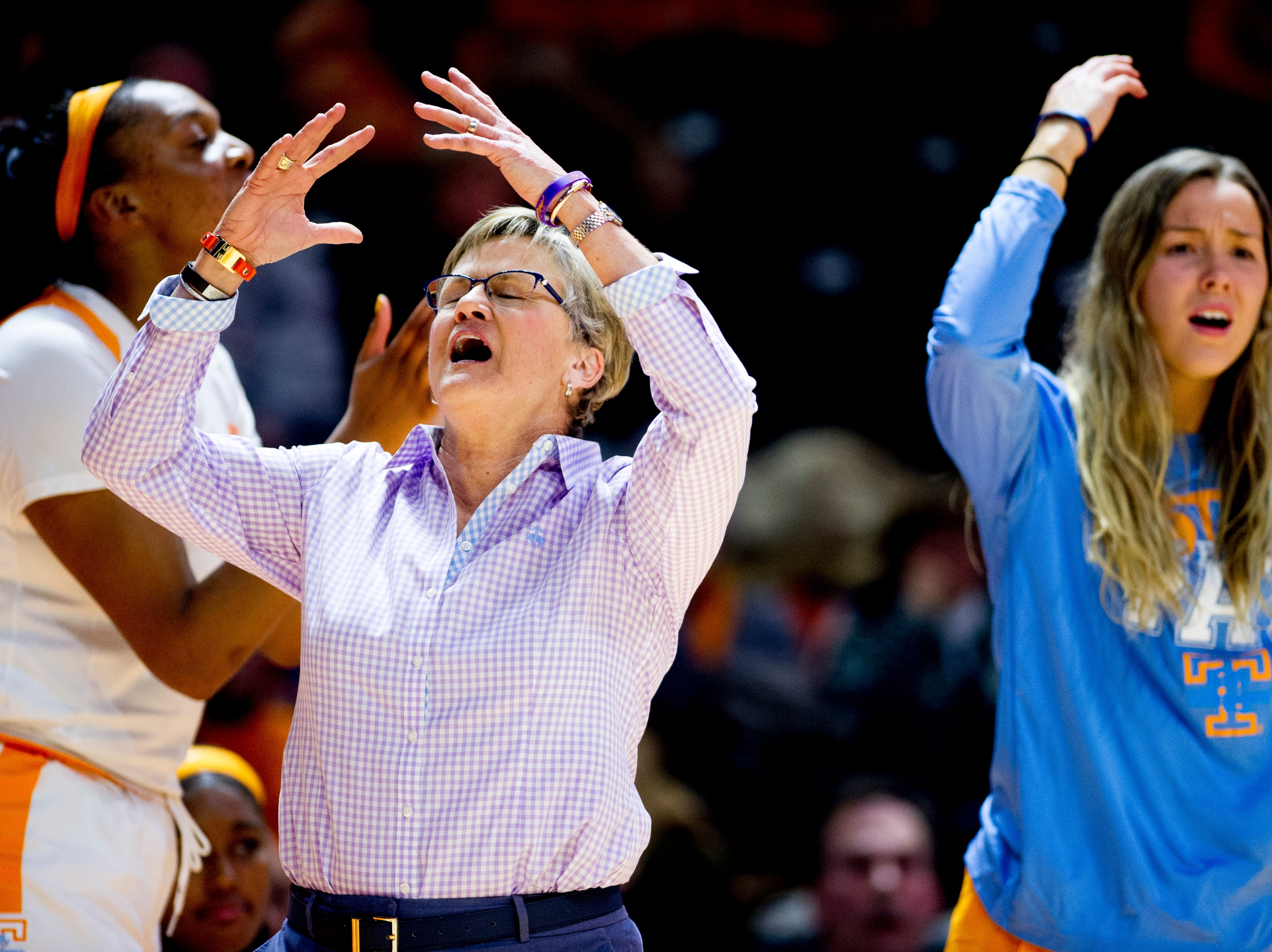 Tennessee Head Coach Holly Warlick reacts to a play during a game between Tennessee and Arkansas at Thompson-Boling Arena in Knoxville, Tennessee on Monday, January 21, 2019.