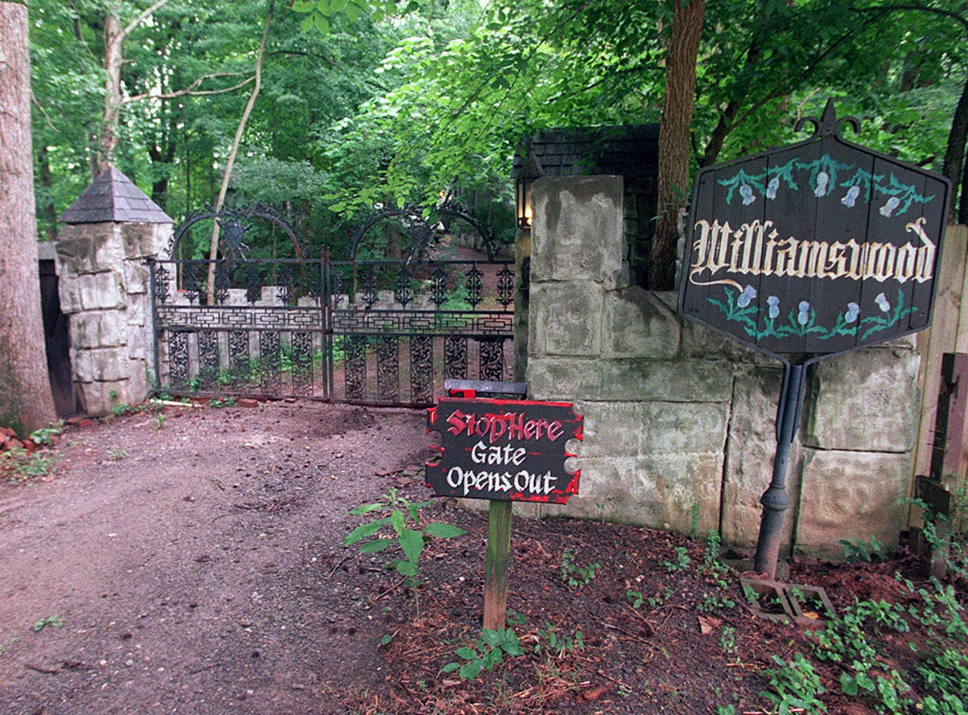 The gate to Williamswood, the home of Julia Tucker in South Knoxville, pictured June 28, 2000.