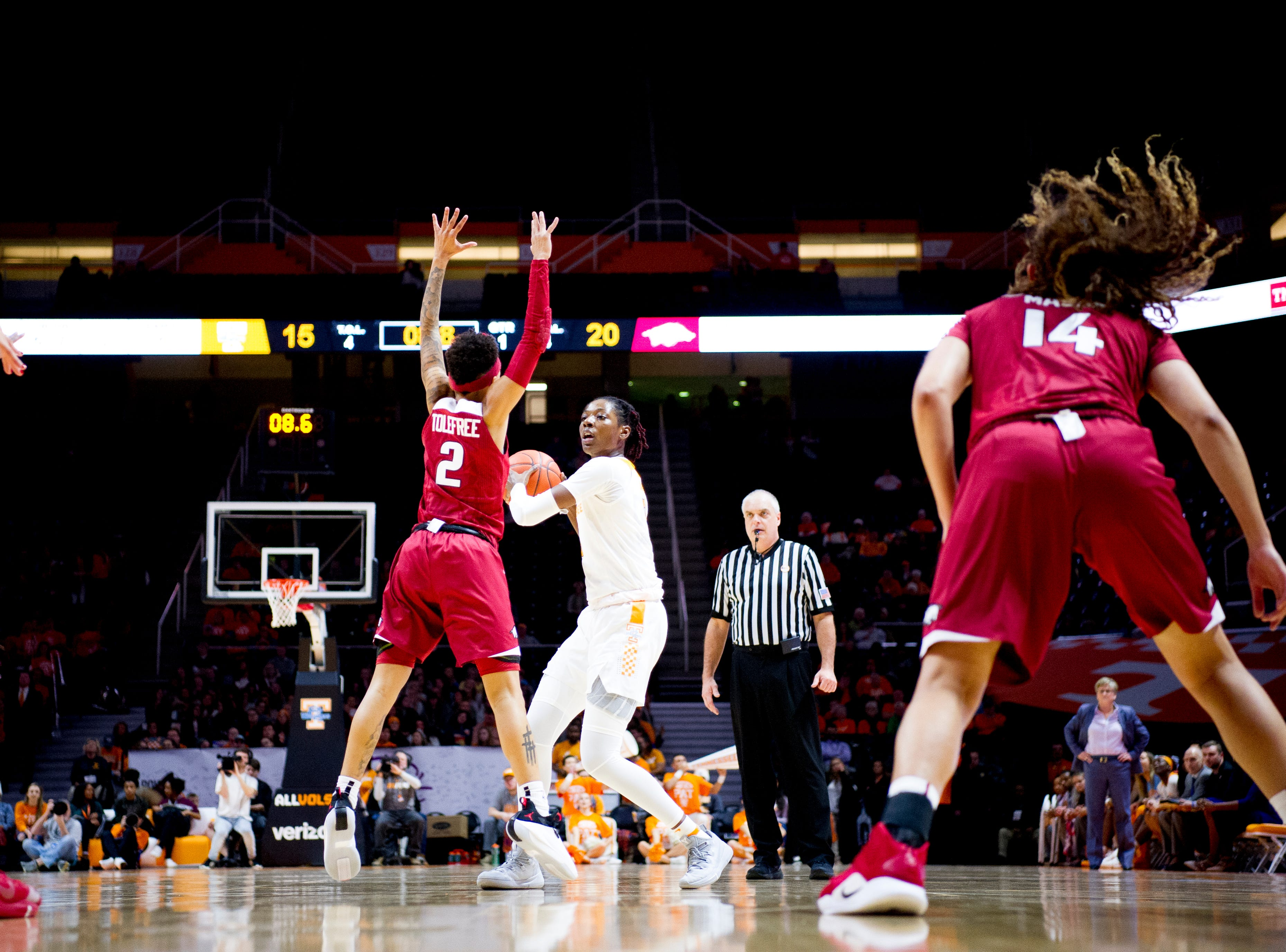 Arkansas guard A'Tyanna Gaulden (0) looks to pass during a game between Tennessee and Arkansas at Thompson-Boling Arena in , Tennessee on Monday, January 21, 2019.