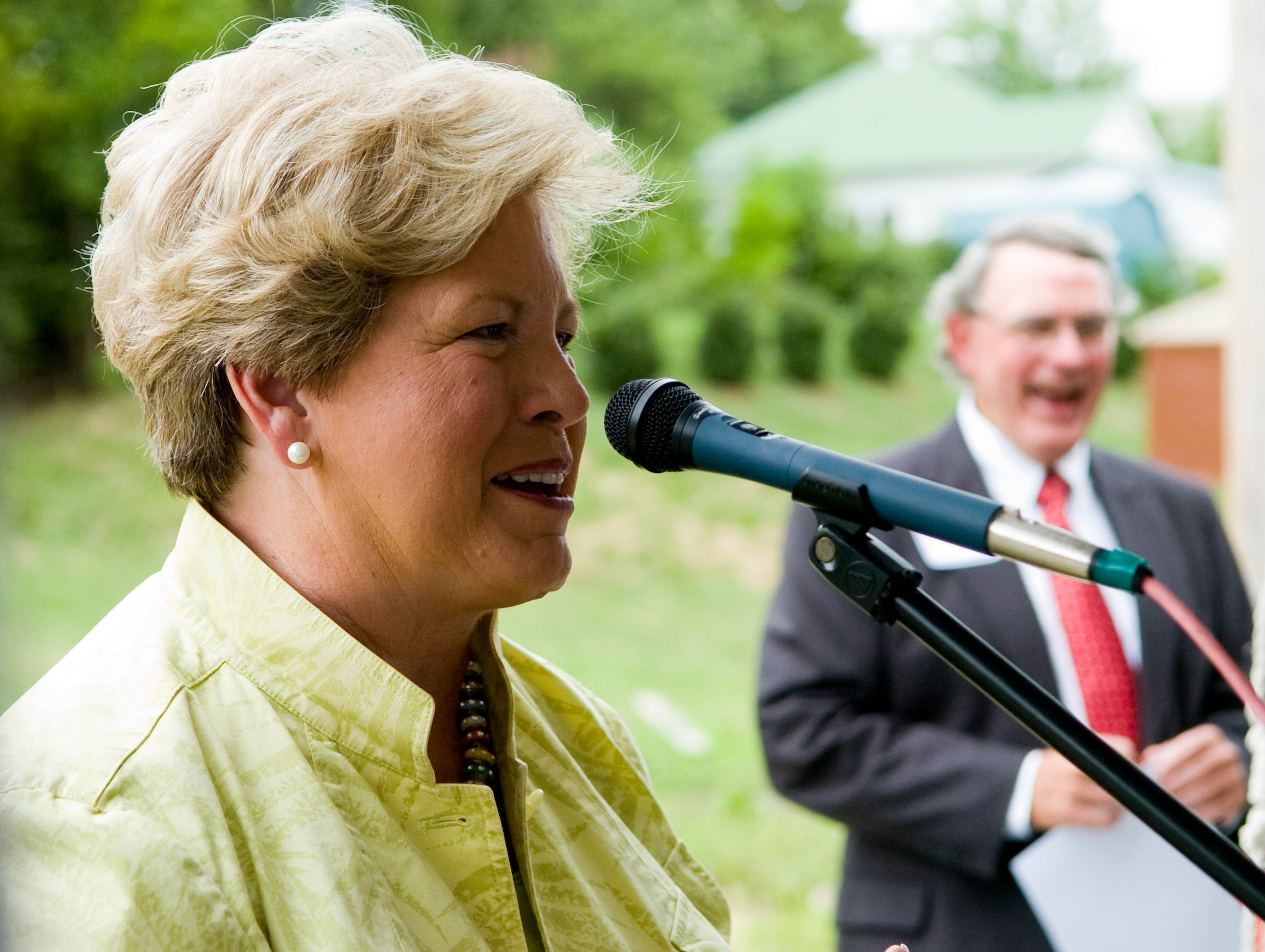 University of Tennessee women's athletic director, Joan Cronan speaks on behalf of the Helen Ross McNabb Center during a ceremony a the future location of the Maryville Helen Ross McNabb Center on Monday, July 26, 2010.