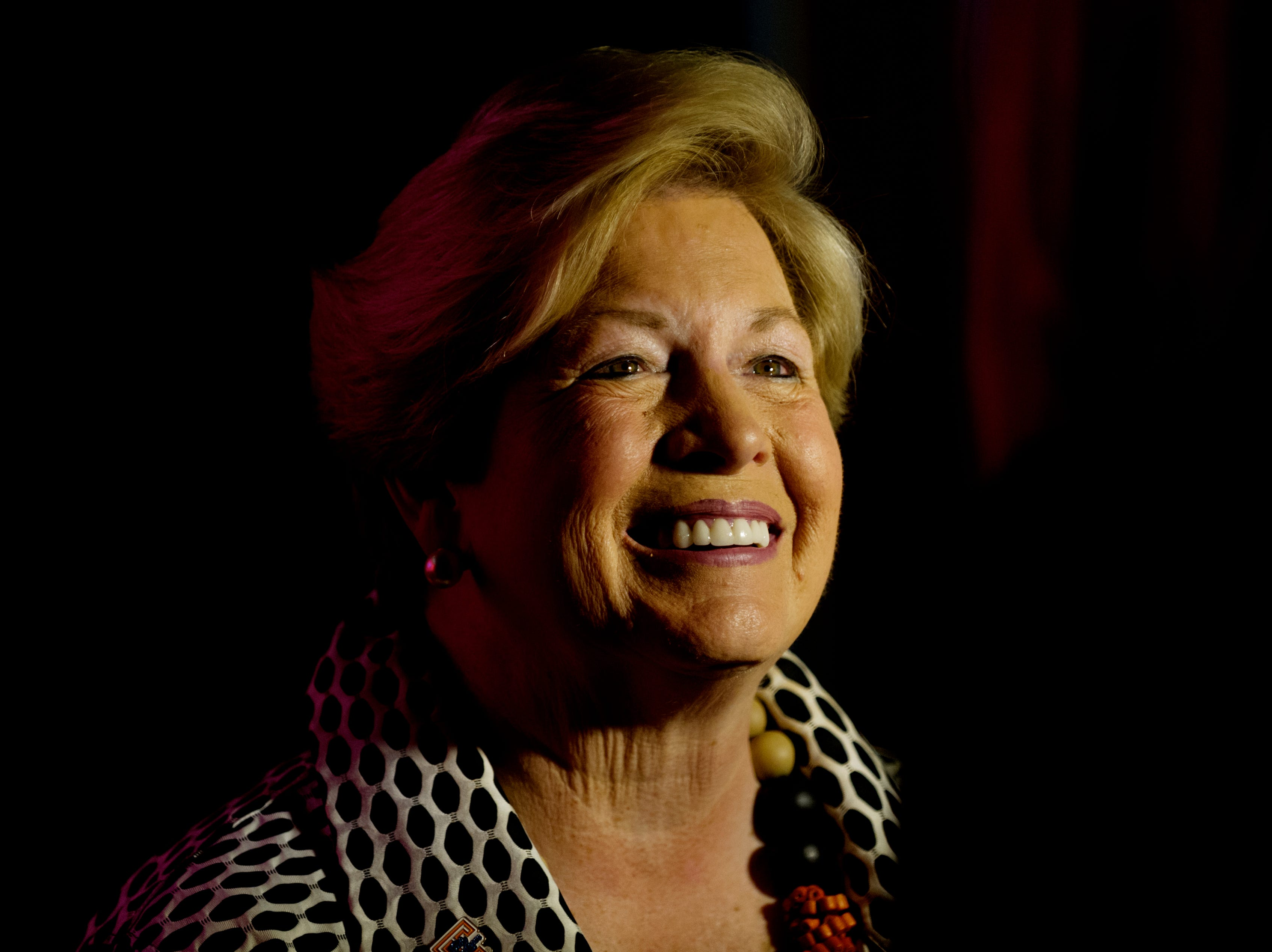 Former UT Women's Athletics Director Joan Cronan attends a press conference announcing new information concerning the Tennessee Lady Vols name, logo and brand at the Ray & Lucy Hand Digital Studio on the UT campus in Knoxville, Tennessee on Thursday, September 14, 2017.