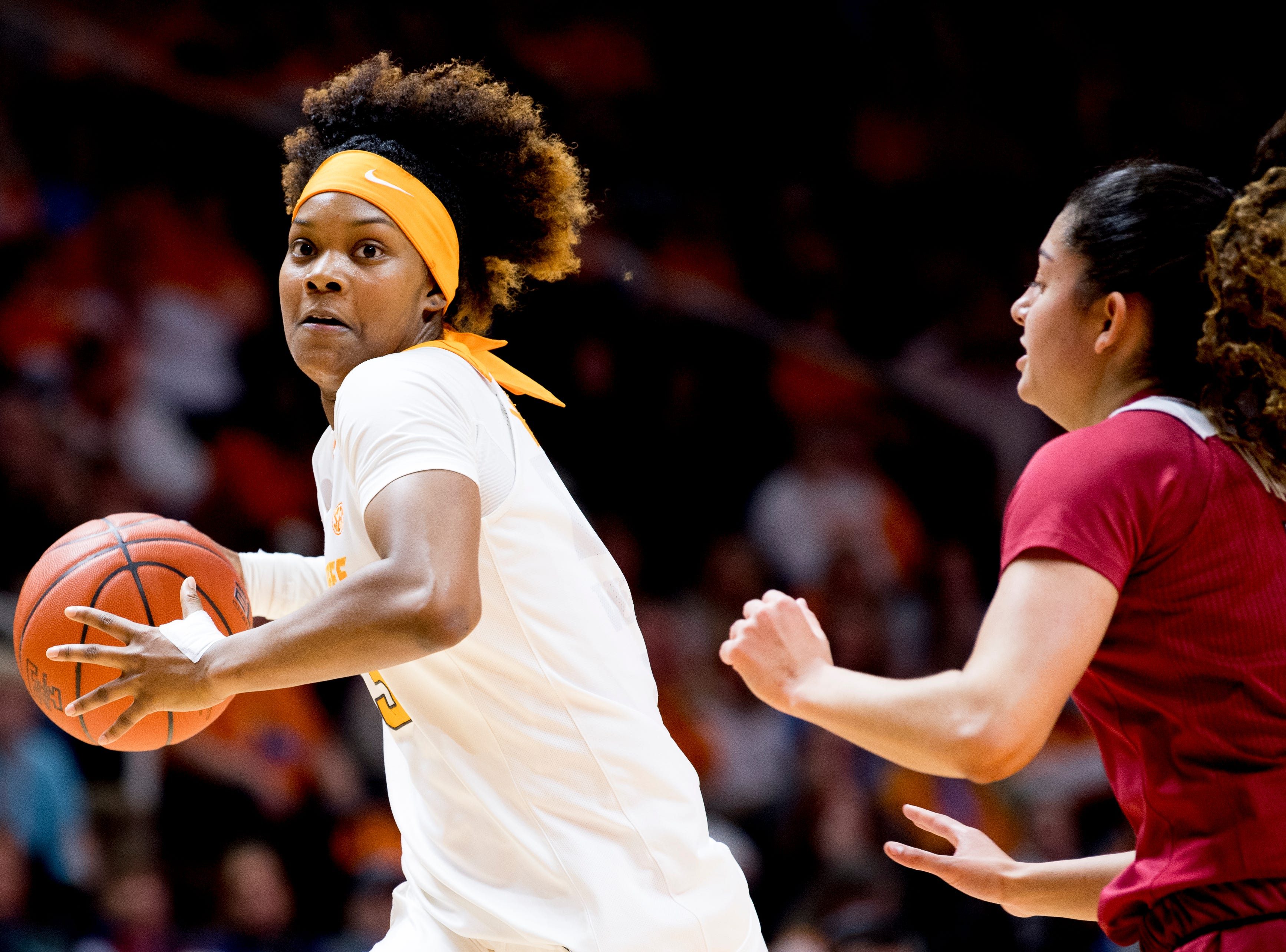 Tennessee guard Jazmine Massengill (13) dribbles the ball down the court past Arkansas point guard Jailyn Mason (14) during a game between Tennessee and Arkansas at Thompson-Boling Arena in , Tennessee on Monday, January 21, 2019.