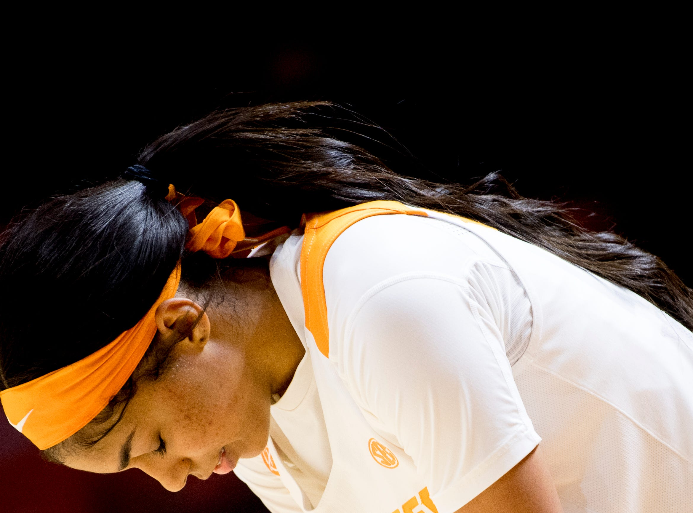 Tennessee guard Evina Westbrook (2) reacts after falling to Arkansas 79-80 at Thompson-Boling Arena in Knoxville, Tennessee on Monday, January 21, 2019.