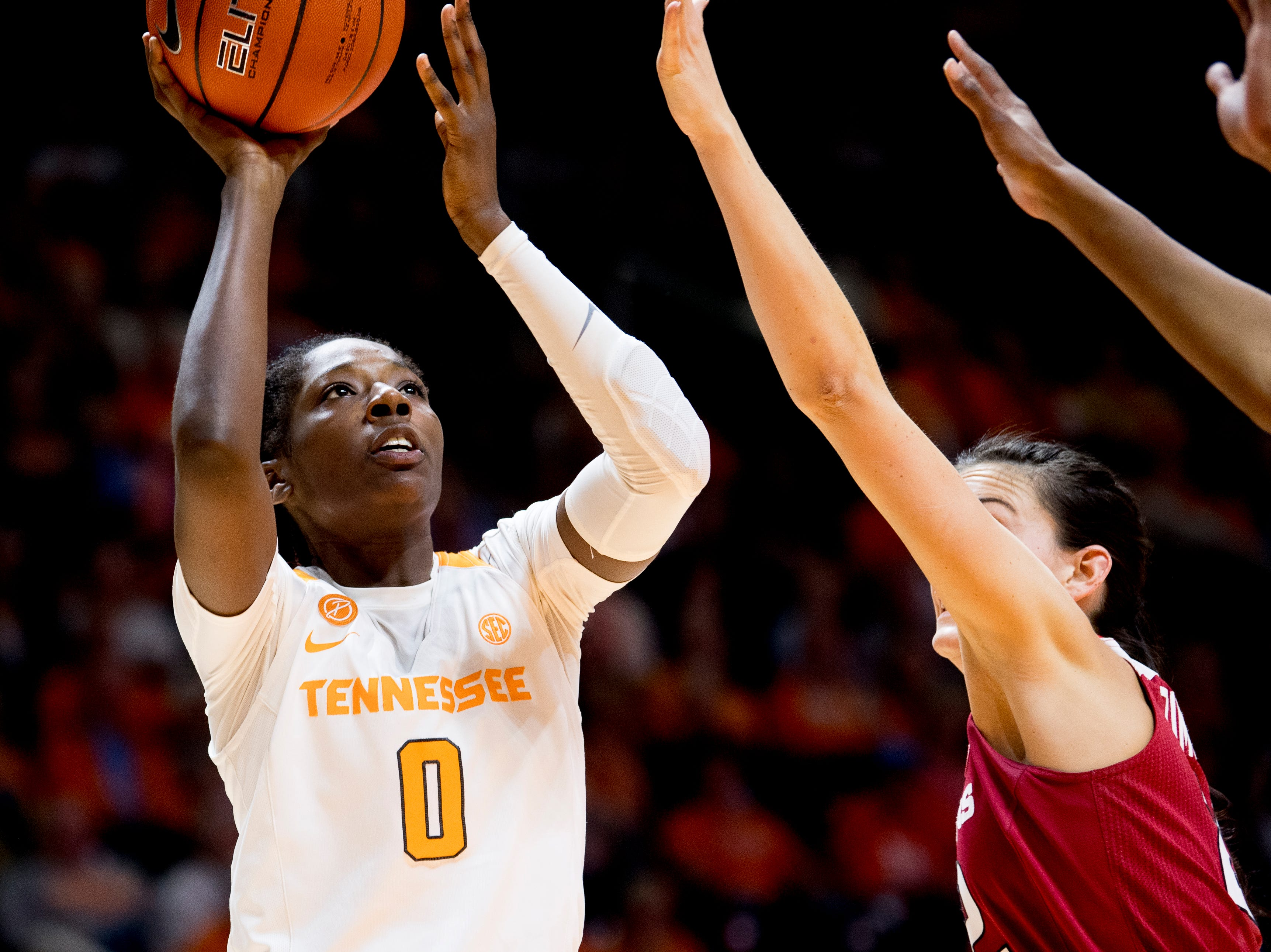 Tennessee guard/forward Rennia Davis (0) shoots the ball during a game between Tennessee and Arkansas at Thompson-Boling Arena in Knoxville, Tennessee on Monday, January 21, 2019.
