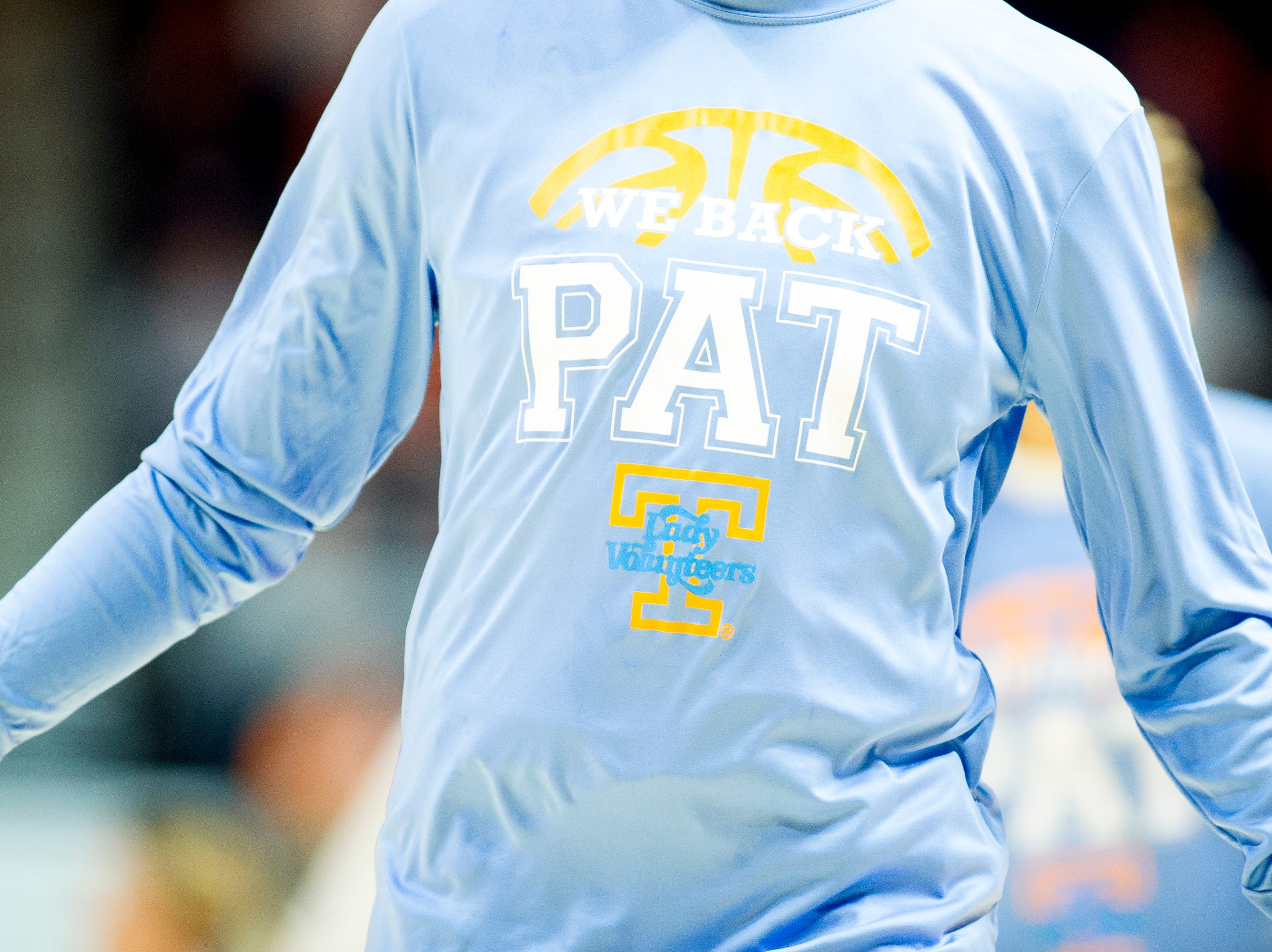 "A Tennessee player wears a ""We Back Pat"" shirt during a game between Tennessee and Arkansas at Thompson-Boling Arena in , Tennessee on Monday, January 21, 2019."