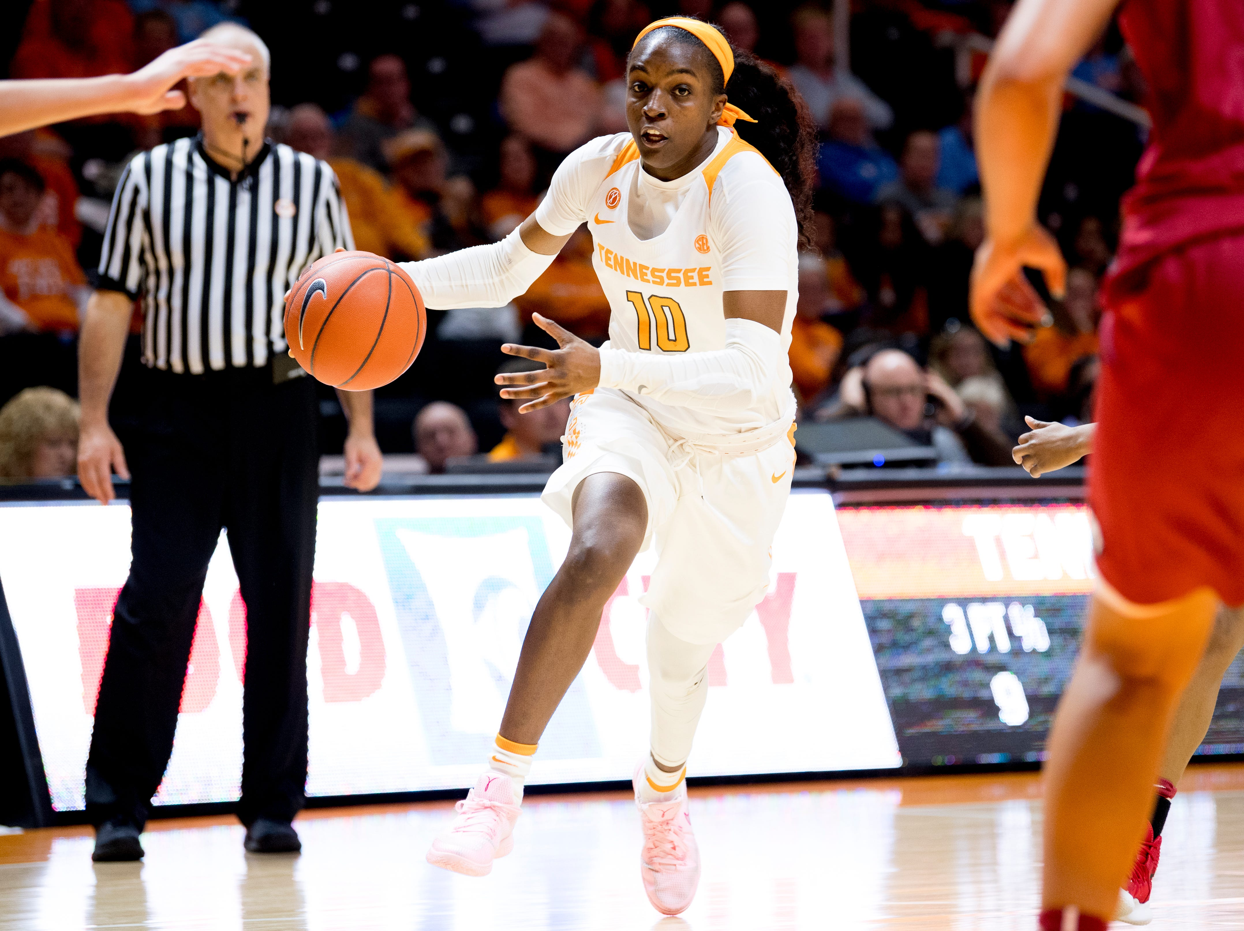 Tennessee guard/forward Meme Jackson (10) dribbles the ball shortly before injuring herself during a game between Tennessee and Arkansas at Thompson-Boling Arena in Knoxville, Tennessee on Monday, January 21, 2019.