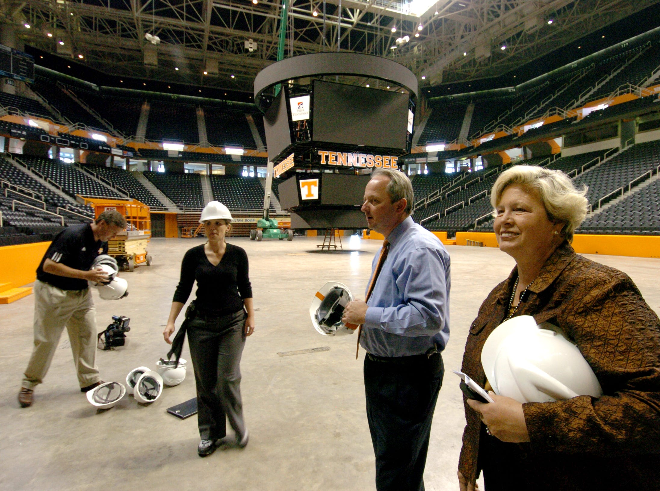 University of Tennessee athletics directors Mike Halilton and Joan Cronan during a media tour of the new Pratt Pavilion and remodeled Thompson-Boling Arena.