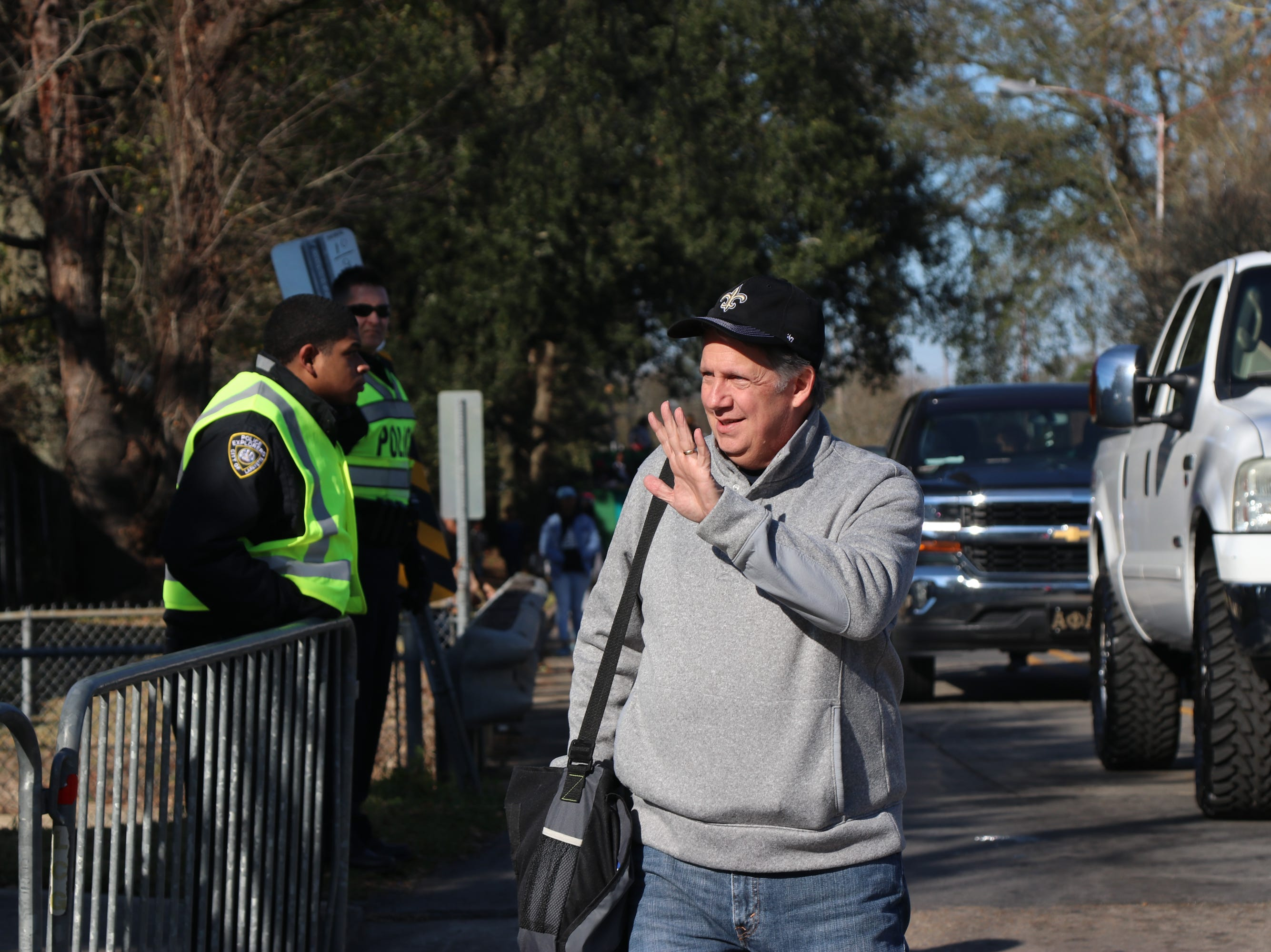 Lafayette Mayor-President Joel Robideaux greeting parade goers Sunday, Jan.20, 2019
