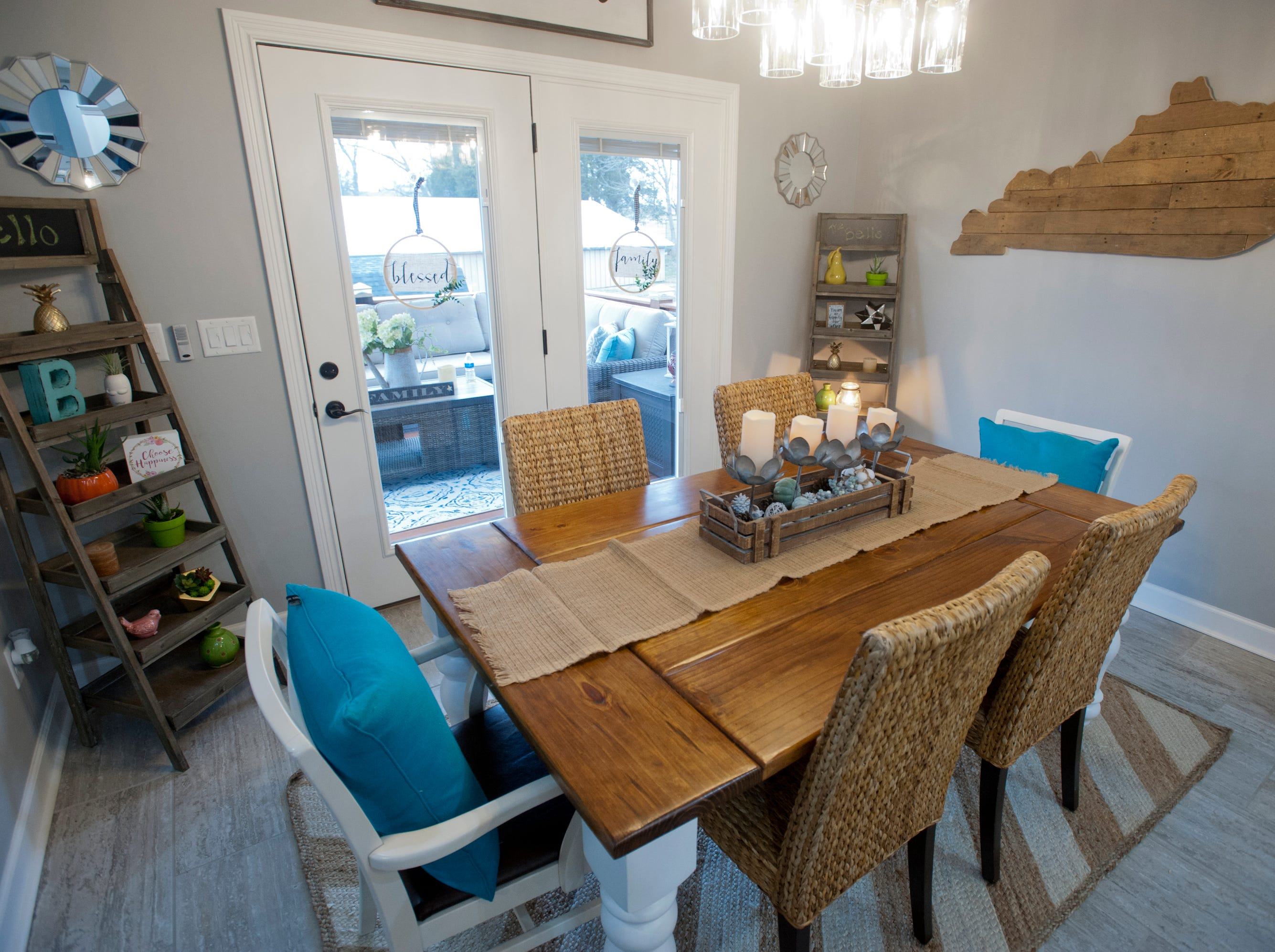 The home's open-concept dining room off the kitchen. The table was custom built by Donnie Pfost.