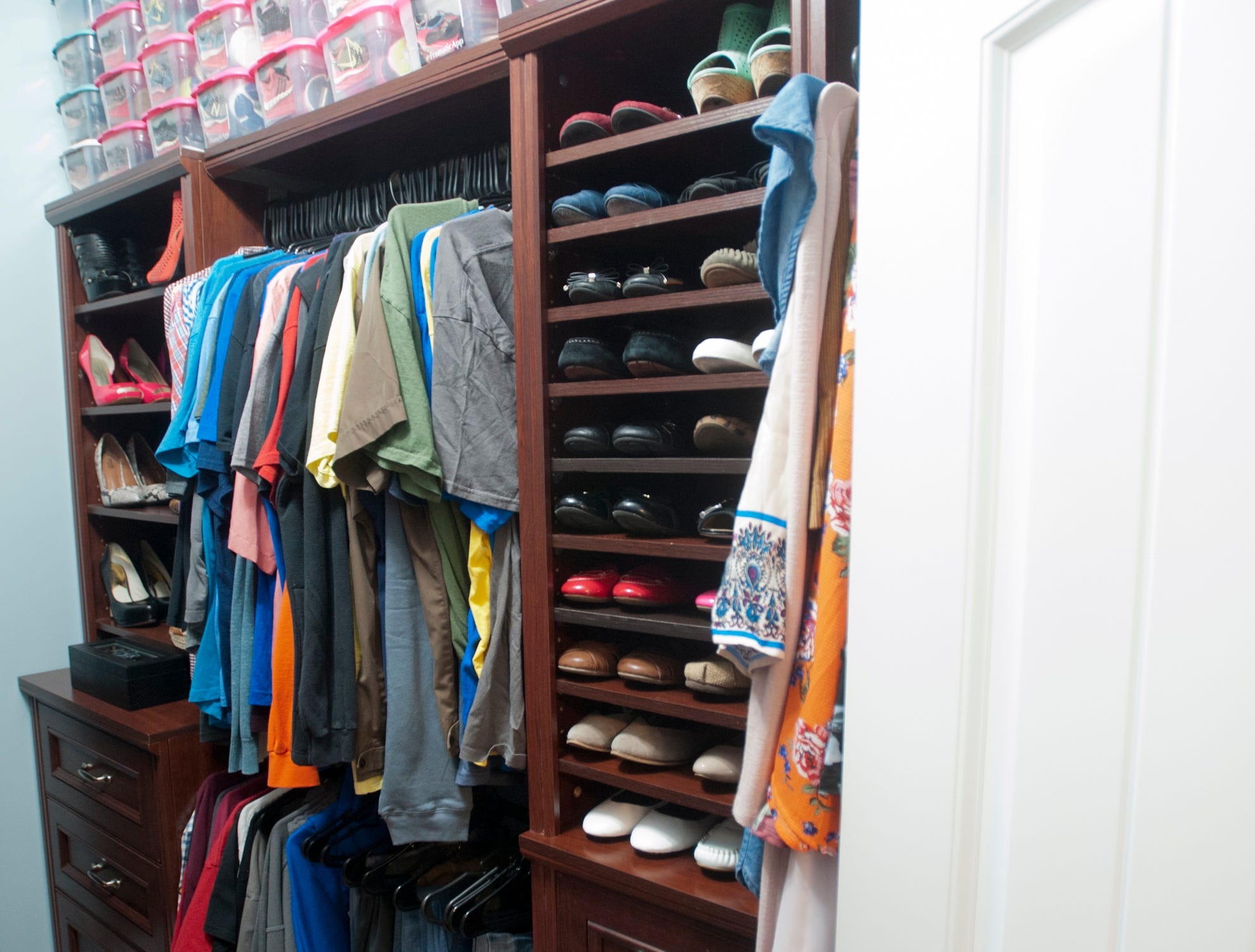 The customized Bell master bedroom closet, built by Rick Bell.
