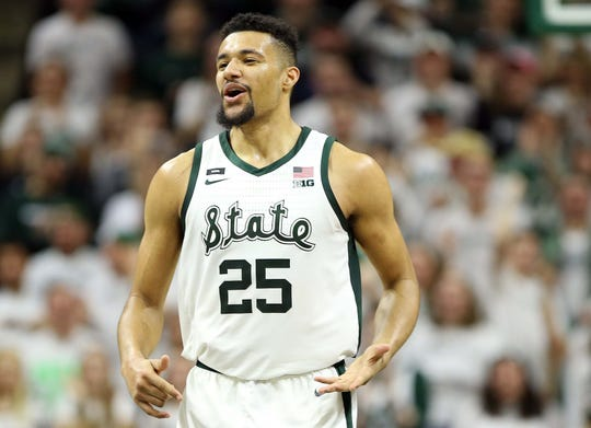 Michigan State Spartans forward Kenny Goins (25) reacts during the second half of a game against the Maryland Terrapins at the Breslin Center.
